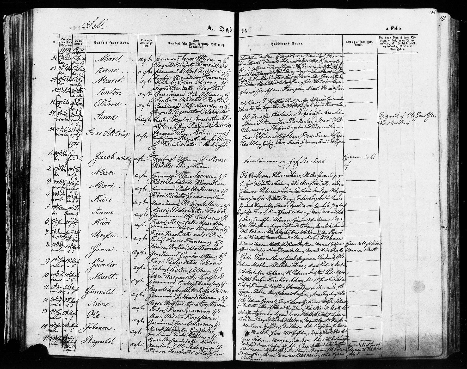 SAH, Vågå prestekontor, Ministerialbok nr. 7 /3, 1872-1886, s. 106