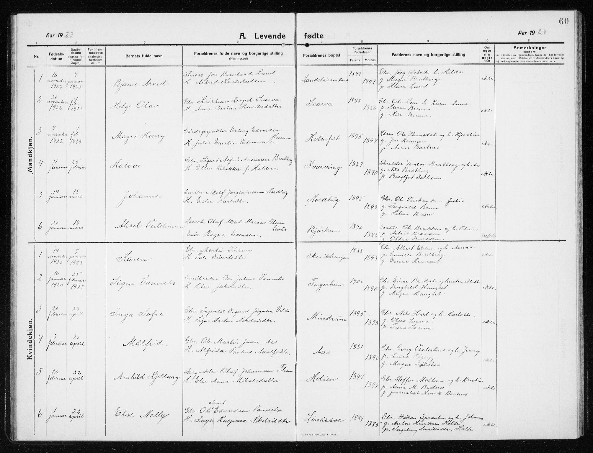 SAT, Ministerialprotokoller, klokkerbøker og fødselsregistre - Nord-Trøndelag, 741/L0402: Klokkerbok nr. 741C03, 1911-1926, s. 60