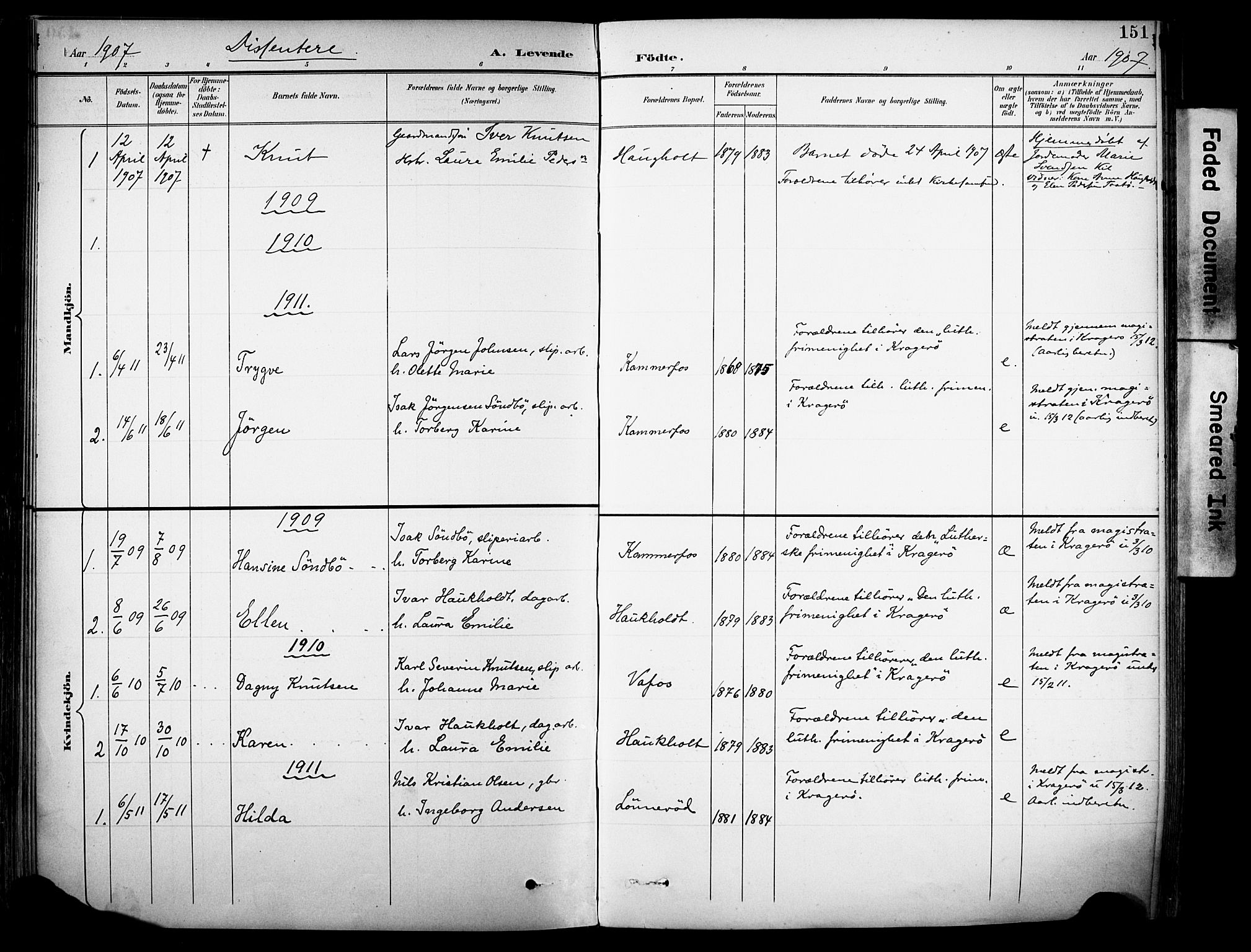 SAKO, Sannidal kirkebøker, F/Fa/L0016: Ministerialbok nr. 16, 1895-1911, s. 151
