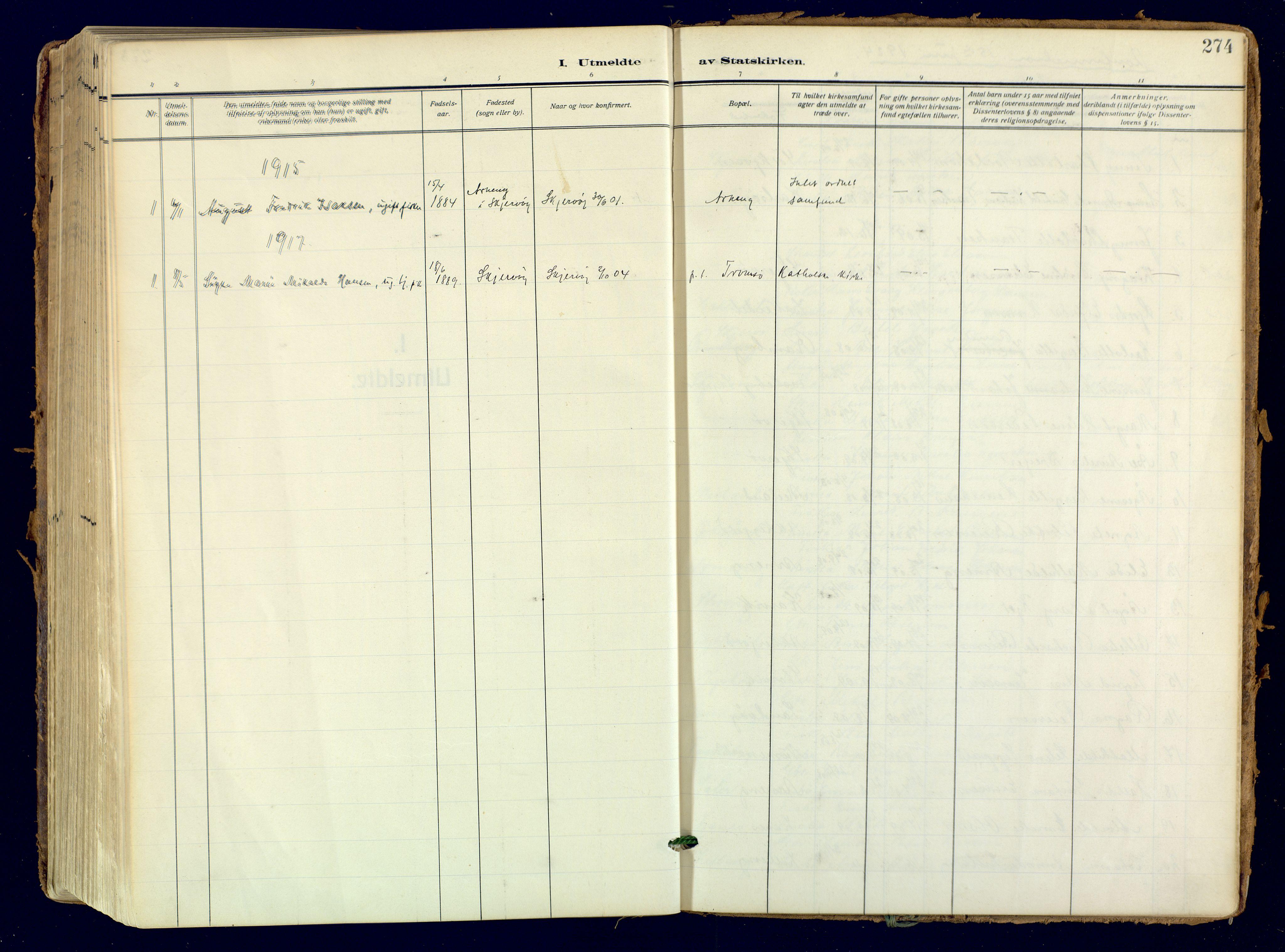 SATØ, Skjervøy sokneprestkontor, H/Ha/Haa: Ministerialbok nr. 18, 1910-1926, s. 274