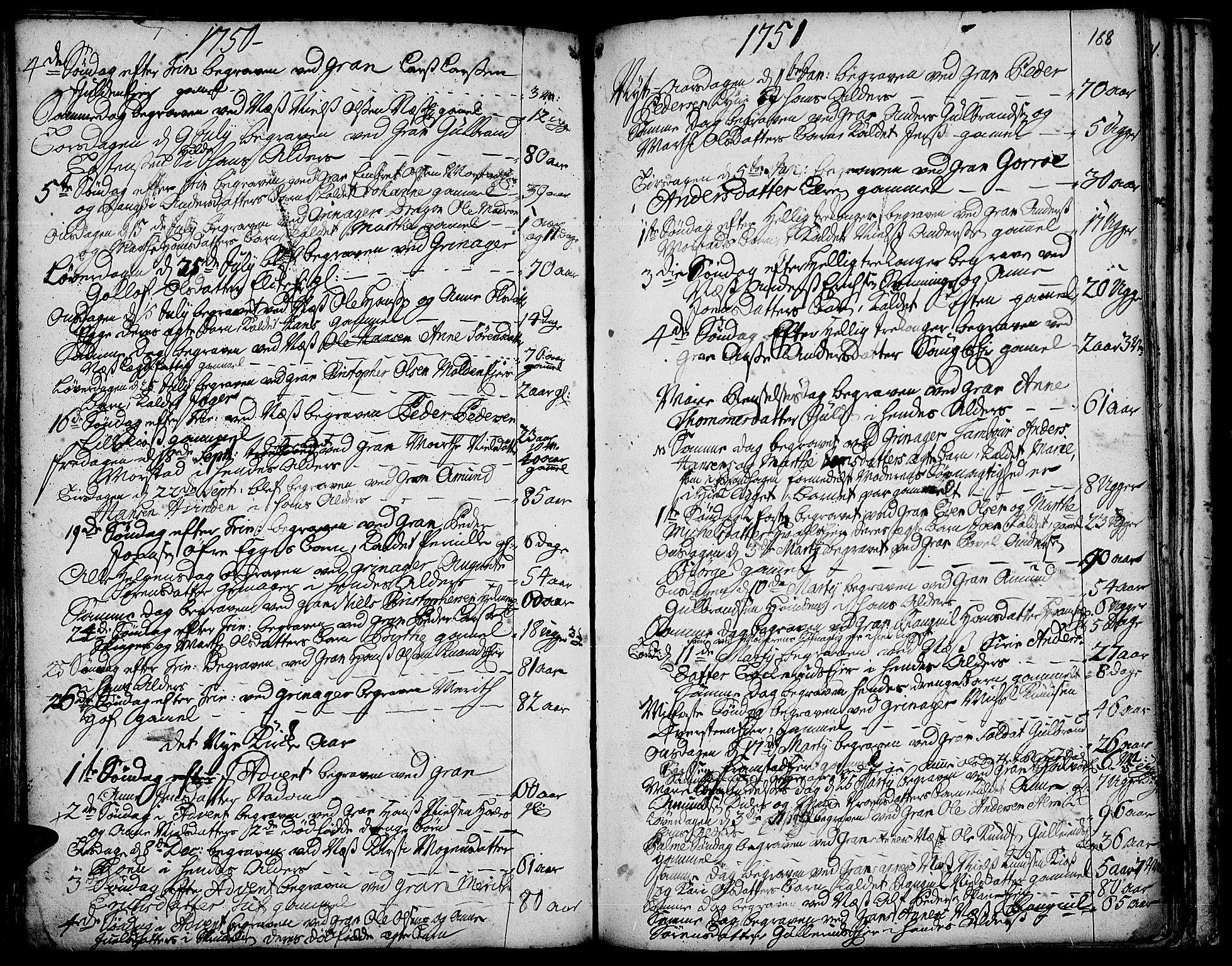 SAH, Gran prestekontor, Ministerialbok nr. 3, 1745-1758, s. 188