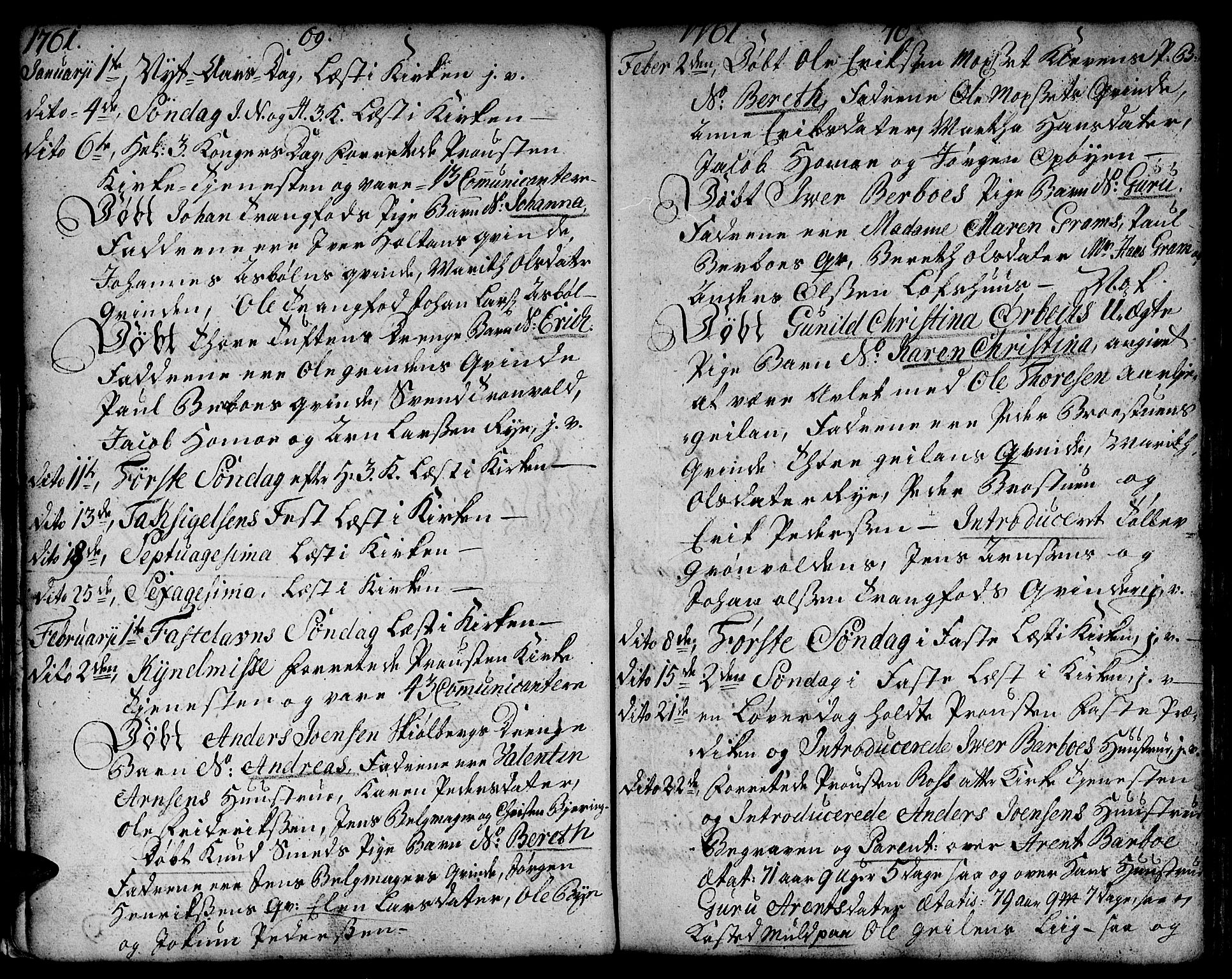 SAT, Ministerialprotokoller, klokkerbøker og fødselsregistre - Sør-Trøndelag, 671/L0840: Ministerialbok nr. 671A02, 1756-1794, s. 69-70