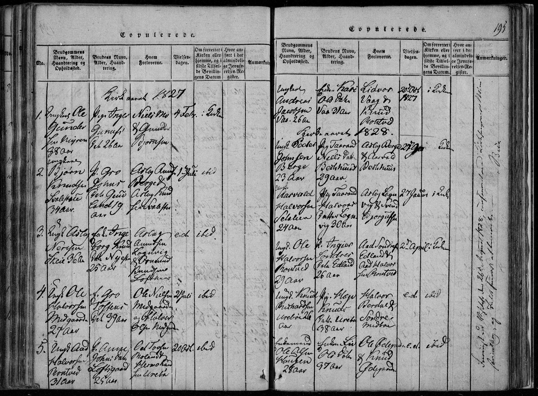 SAKO, Rauland kirkebøker, F/Fa/L0001: Ministerialbok nr. 1, 1814-1859, s. 195