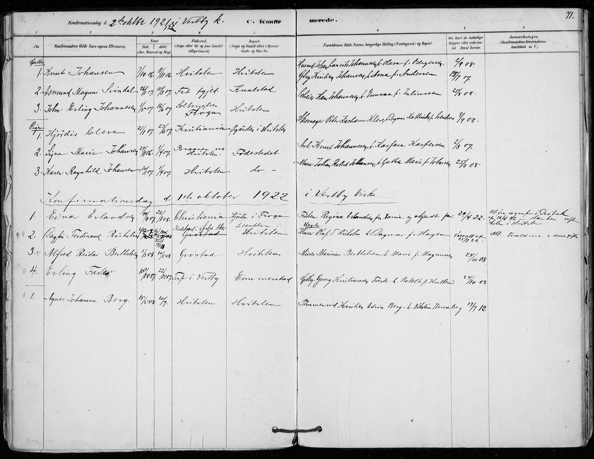 SAO, Vestby prestekontor Kirkebøker, F/Fd/L0001: Ministerialbok nr. IV 1, 1878-1945, s. 71