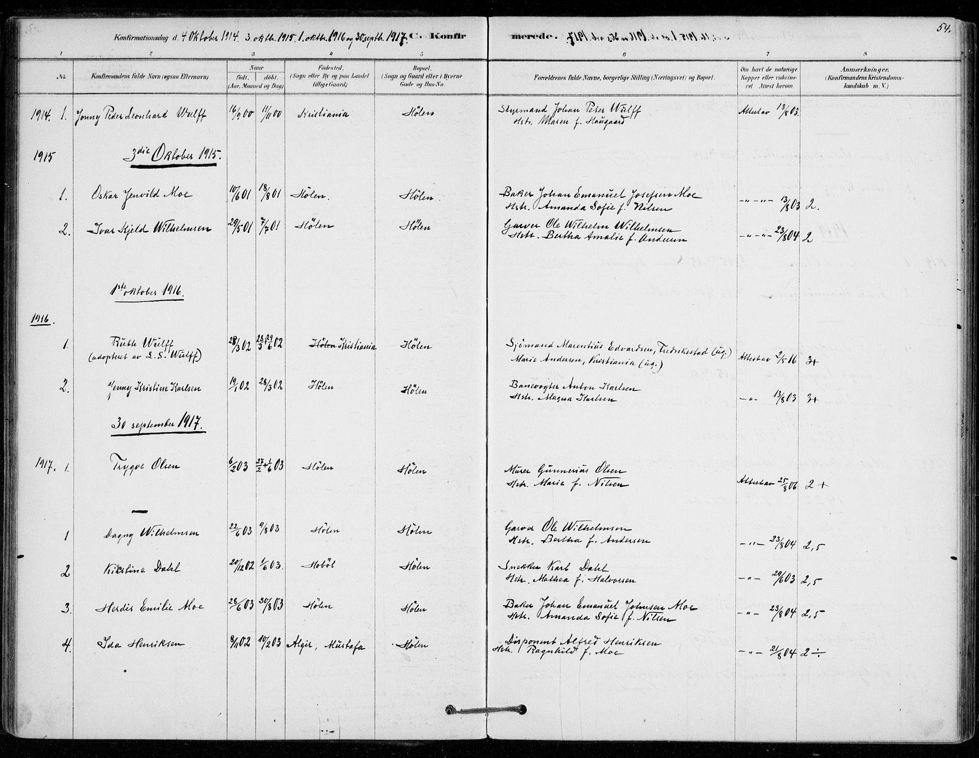 SAO, Vestby prestekontor Kirkebøker, F/Fe/L0001: Ministerialbok nr. V 1, 1878-1931, s. 54