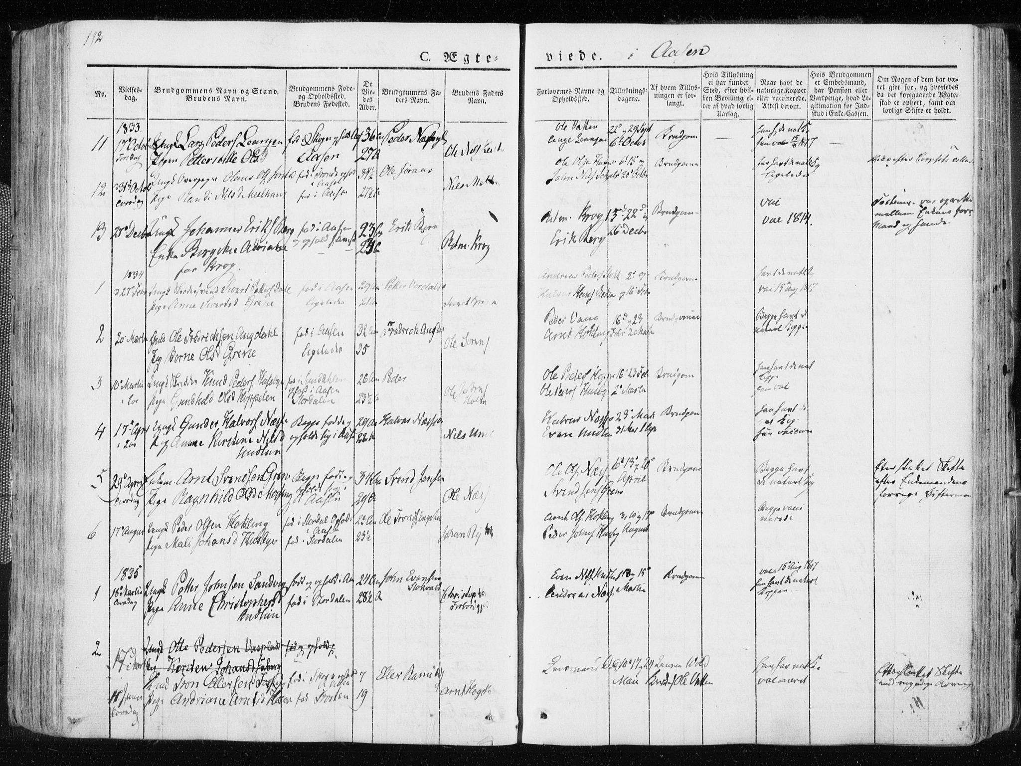 SAT, Ministerialprotokoller, klokkerbøker og fødselsregistre - Nord-Trøndelag, 713/L0114: Ministerialbok nr. 713A05, 1827-1839, s. 192