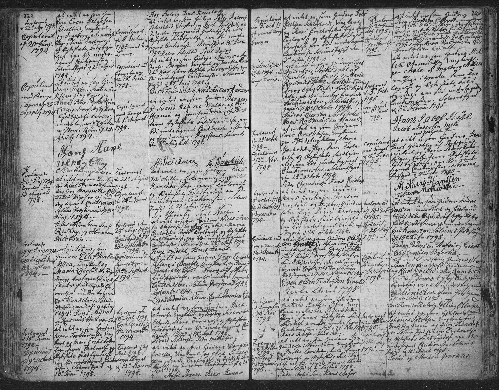 SAKO, Solum kirkebøker, F/Fa/L0003: Ministerialbok nr. I 3, 1761-1814, s. 222-223