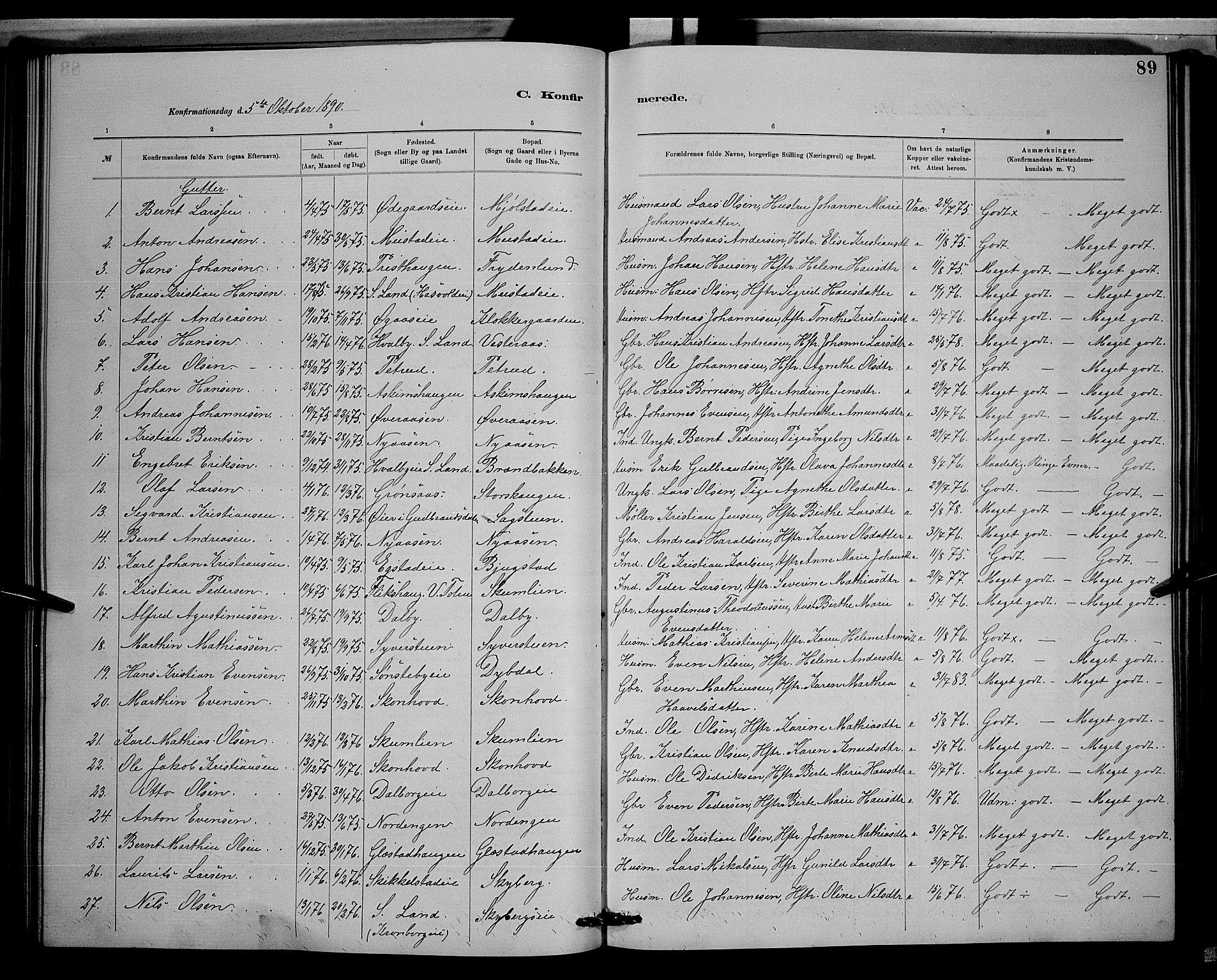 SAH, Vardal prestekontor, H/Ha/Hab/L0008: Klokkerbok nr. 8, 1881-1898, s. 89