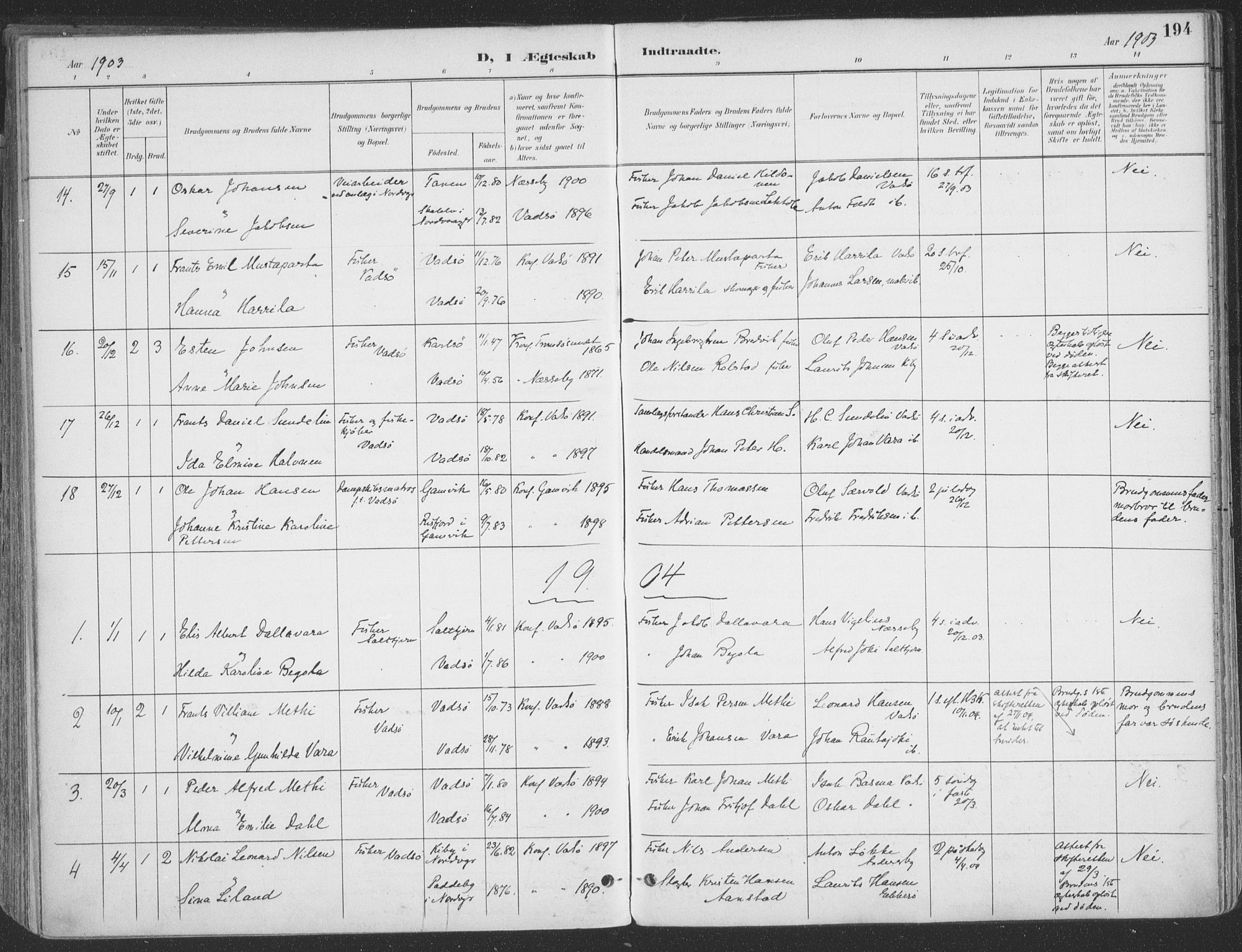 SATØ, Vadsø sokneprestkontor, H/Ha/L0007kirke: Ministerialbok nr. 7, 1896-1916, s. 194