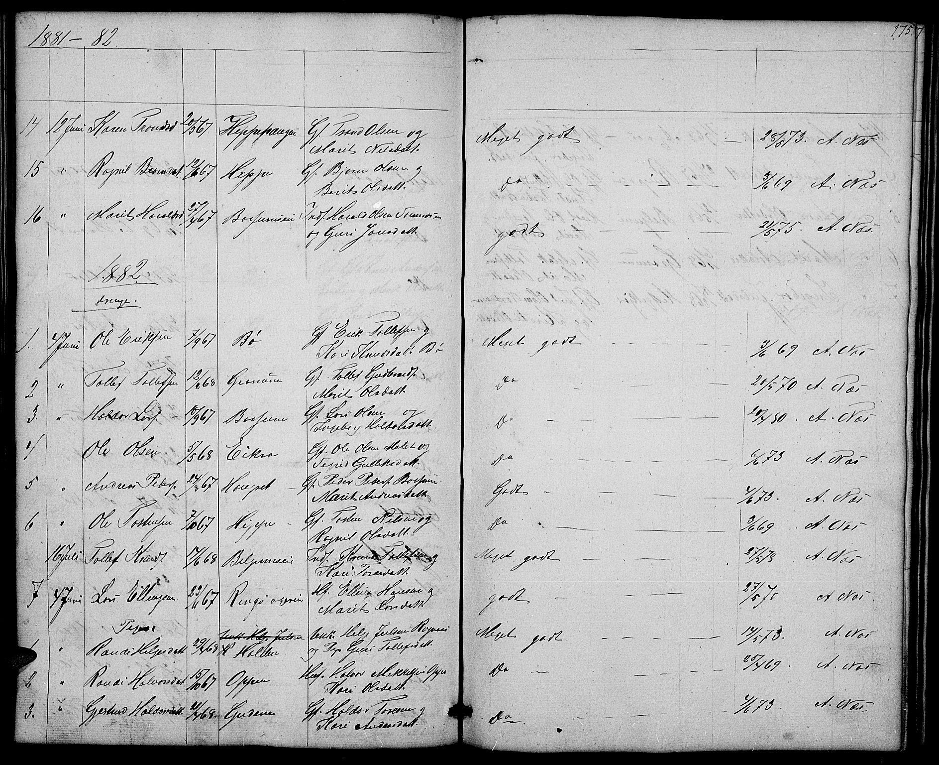 SAH, Nord-Aurdal prestekontor, Klokkerbok nr. 4, 1842-1882, s. 175