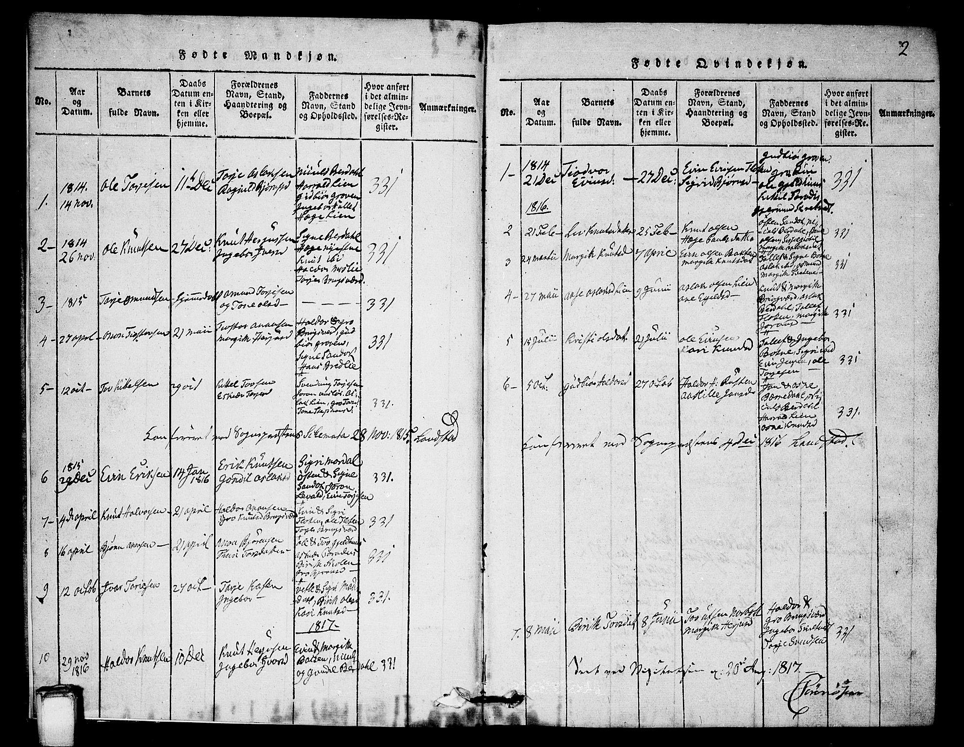 SAKO, Vinje kirkebøker, G/Gb/L0001: Klokkerbok nr. II 1, 1814-1843, s. 2