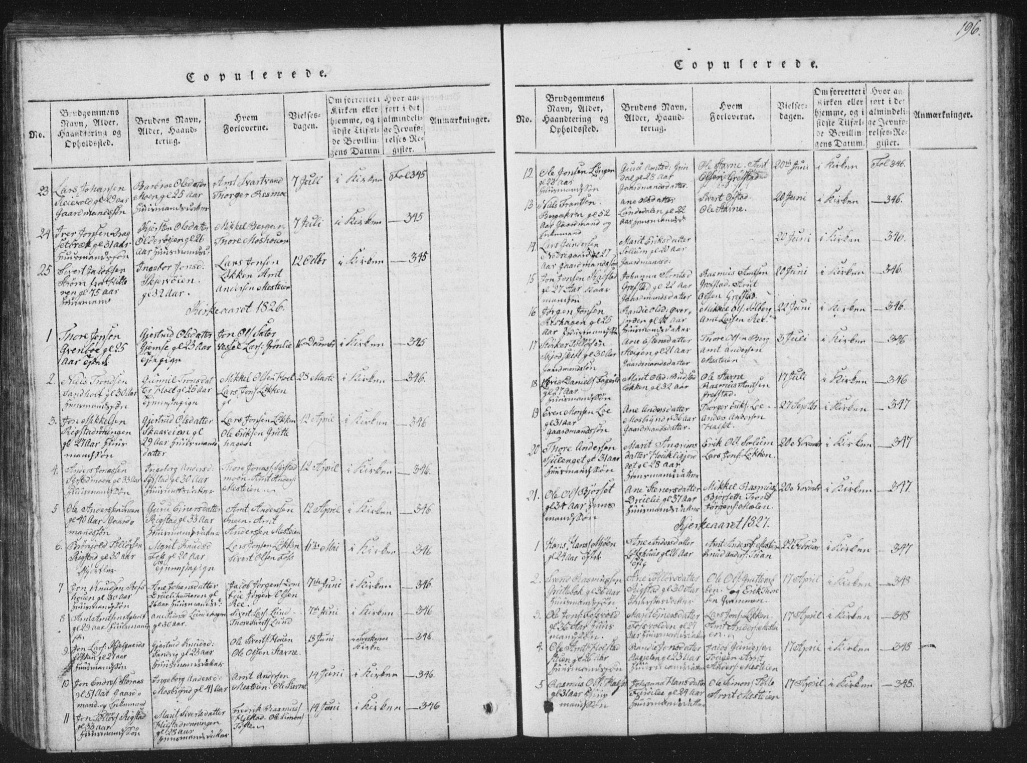 SAT, Ministerialprotokoller, klokkerbøker og fødselsregistre - Sør-Trøndelag, 672/L0862: Klokkerbok nr. 672C01, 1816-1831, s. 196