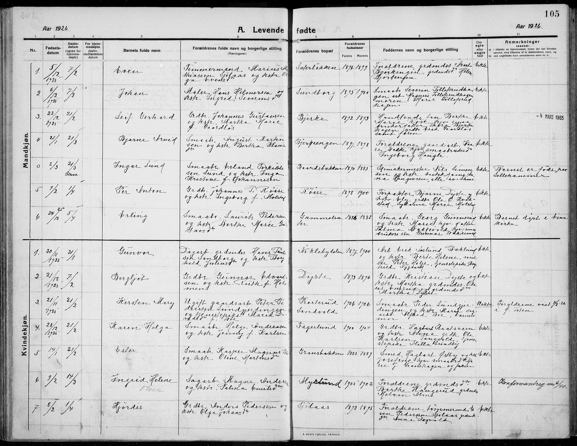 SAH, Kolbu prestekontor, Ministerialbok nr. 2, 1912-1926, s. 105