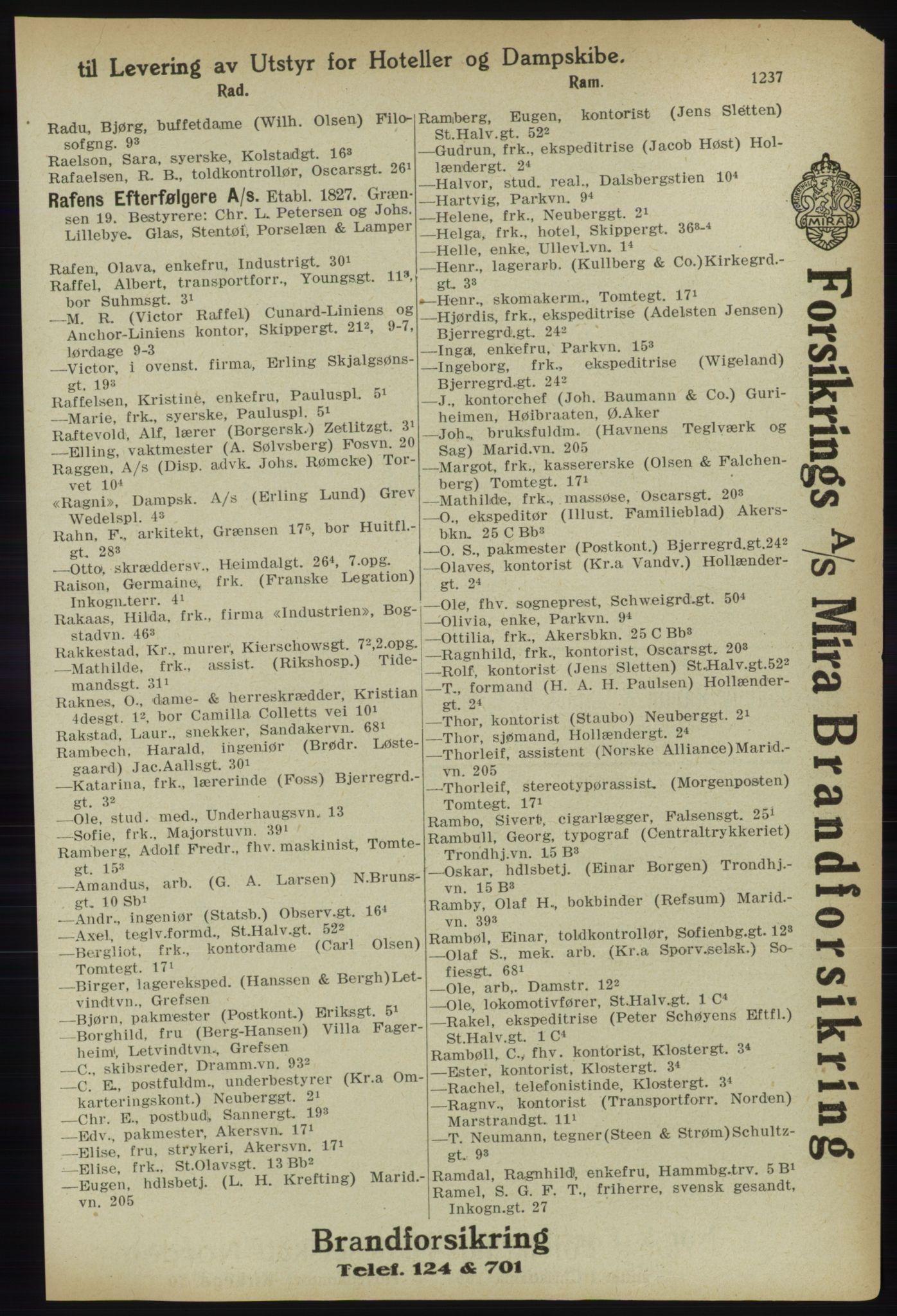 PUBL, Kristiania/Oslo adressebok, 1918, s. 1262