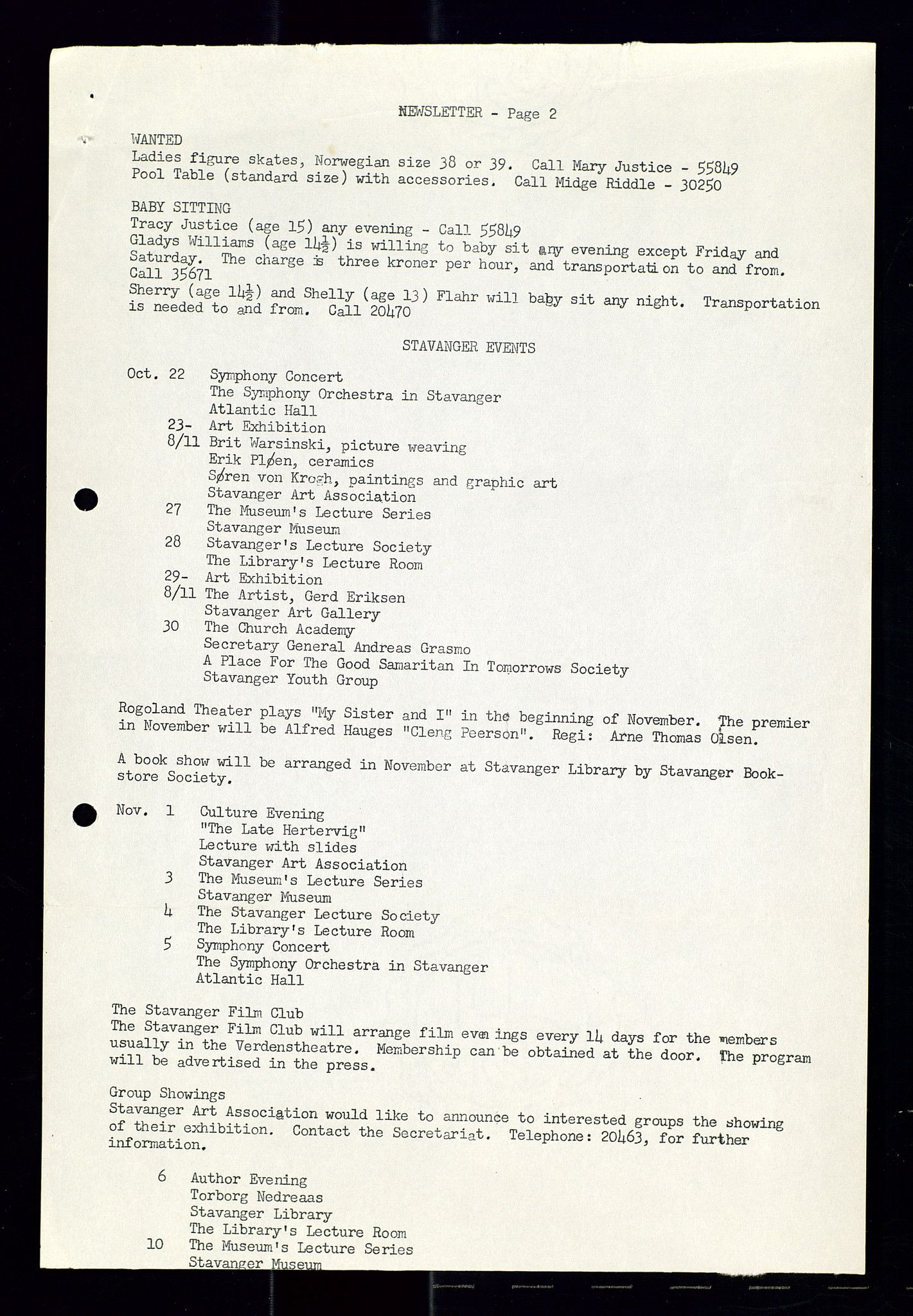 SAST, PA 1547 - Petroleum Wives Club, X/Xa/L0001: Newsletter, 1970-1978