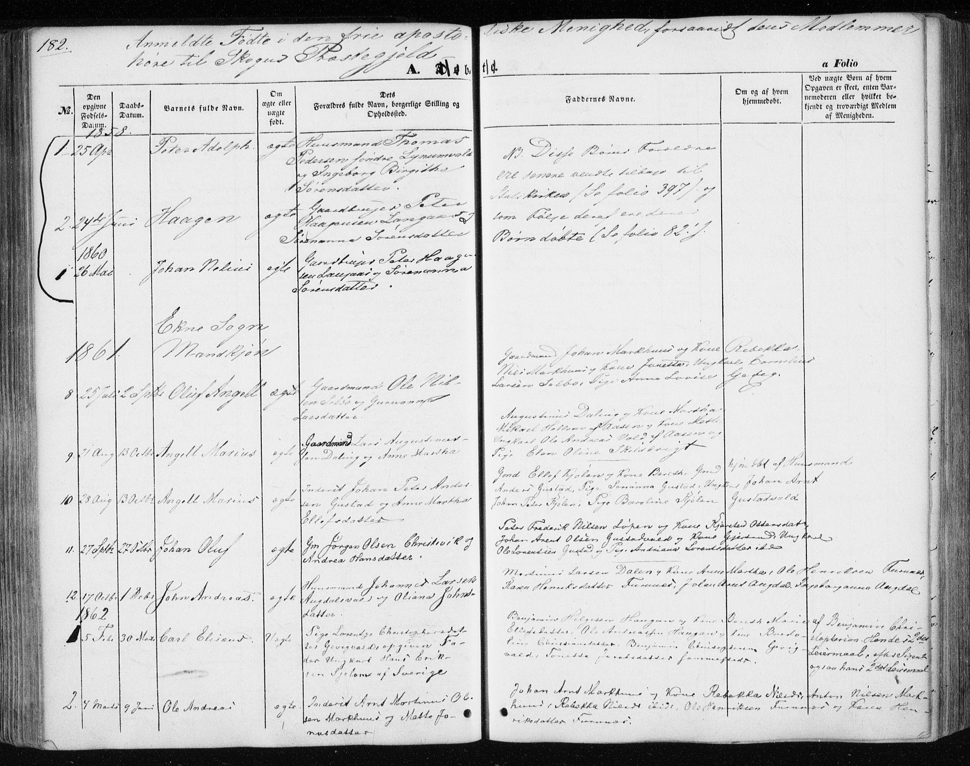 SAT, Ministerialprotokoller, klokkerbøker og fødselsregistre - Nord-Trøndelag, 717/L0154: Ministerialbok nr. 717A07 /3, 1850-1862, s. 182