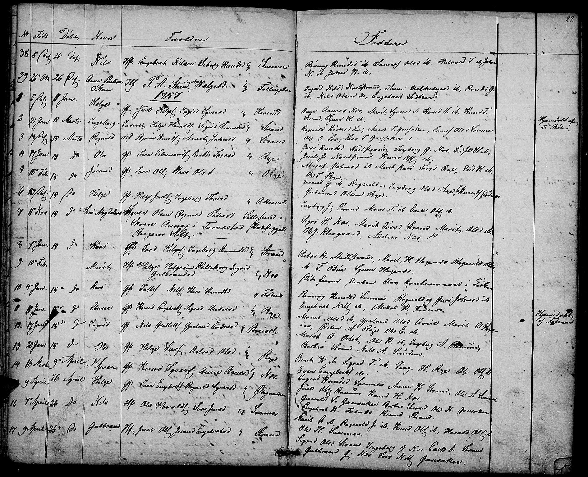 SAH, Nord-Aurdal prestekontor, Klokkerbok nr. 3, 1842-1882, s. 29