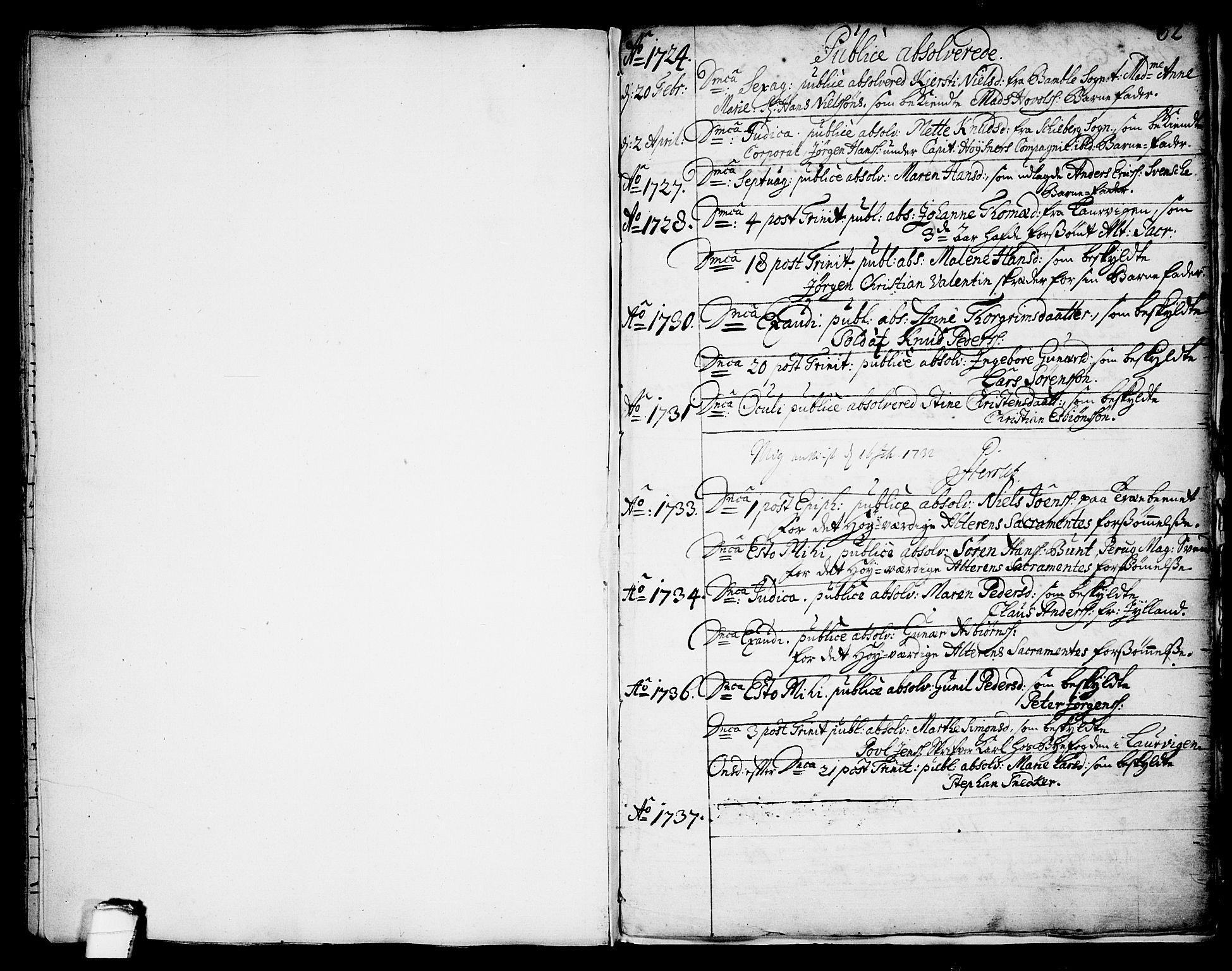 SAKO, Brevik kirkebøker, F/Fa/L0002: Ministerialbok nr. 2, 1720-1764, s. 62