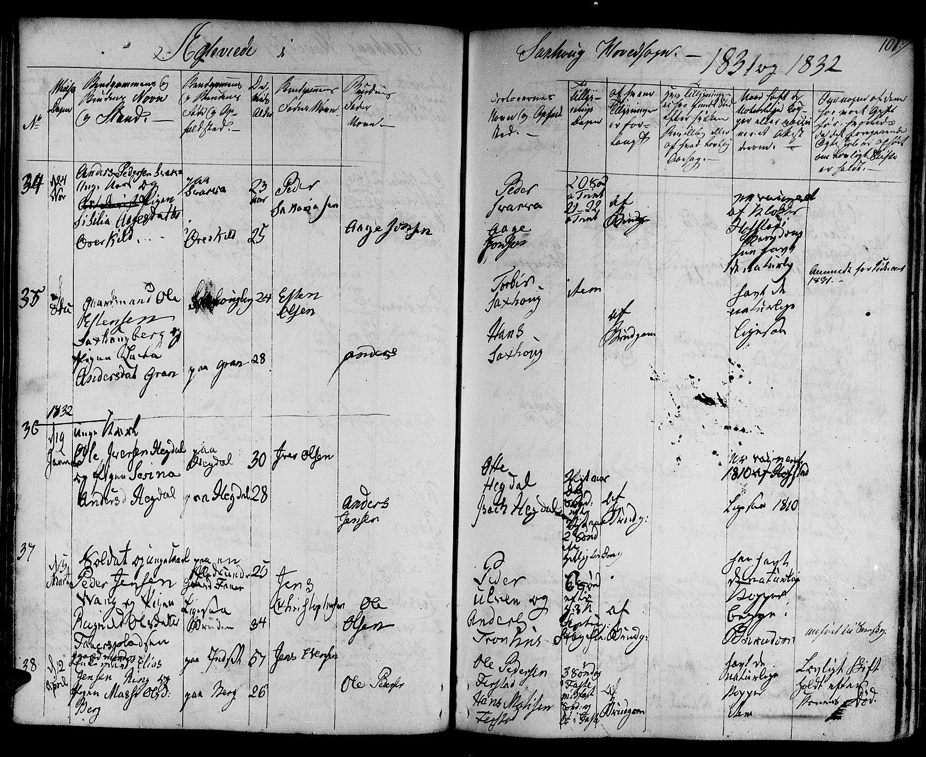 SAT, Ministerialprotokoller, klokkerbøker og fødselsregistre - Nord-Trøndelag, 730/L0277: Ministerialbok nr. 730A06 /1, 1830-1839, s. 101