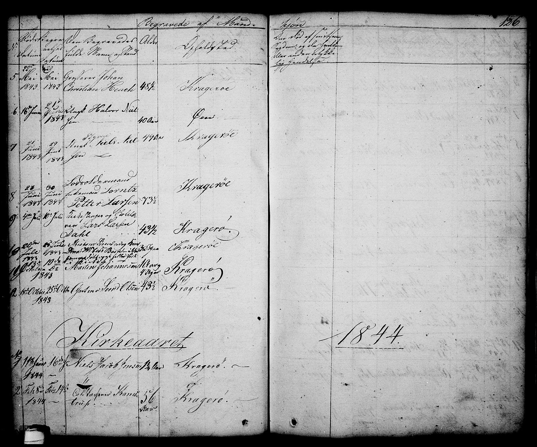 SAKO, Kragerø kirkebøker, G/Ga/L0003: Klokkerbok nr. 3, 1832-1852, s. 126