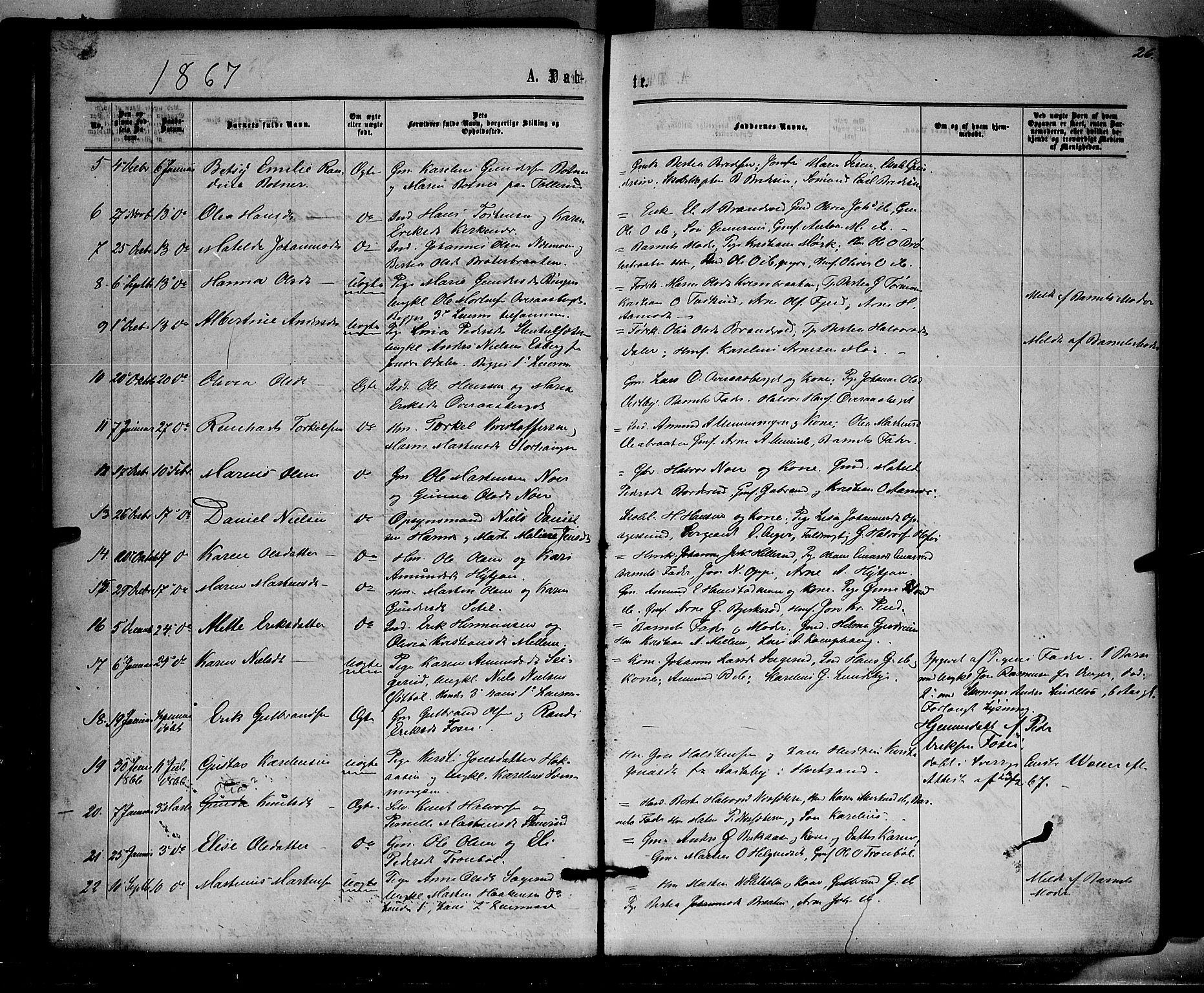 SAH, Brandval prestekontor, H/Ha/Haa/L0001: Ministerialbok nr. 1, 1864-1879, s. 26