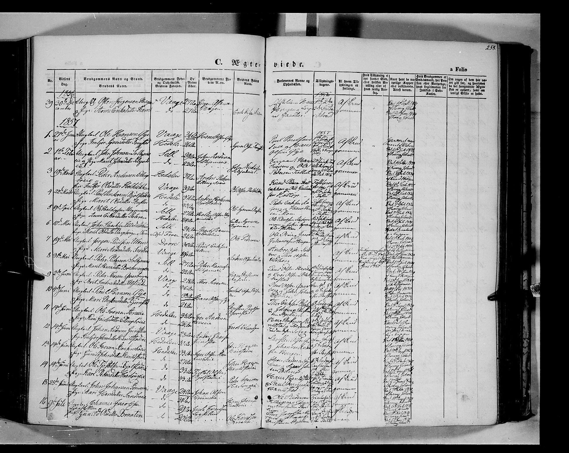 SAH, Vågå prestekontor, Ministerialbok nr. 6 /1, 1856-1872, s. 258