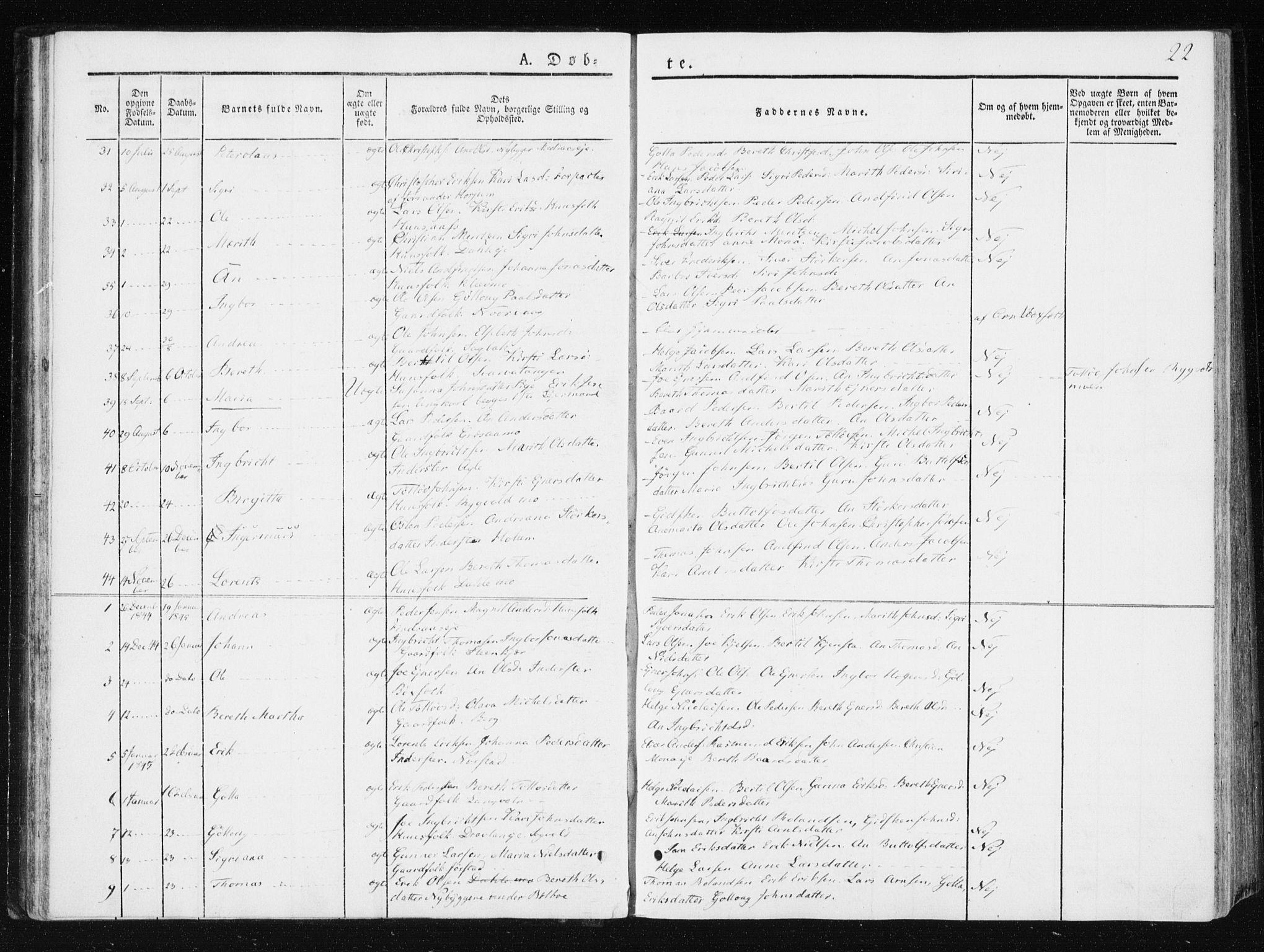SAT, Ministerialprotokoller, klokkerbøker og fødselsregistre - Nord-Trøndelag, 749/L0470: Ministerialbok nr. 749A04, 1834-1853, s. 22