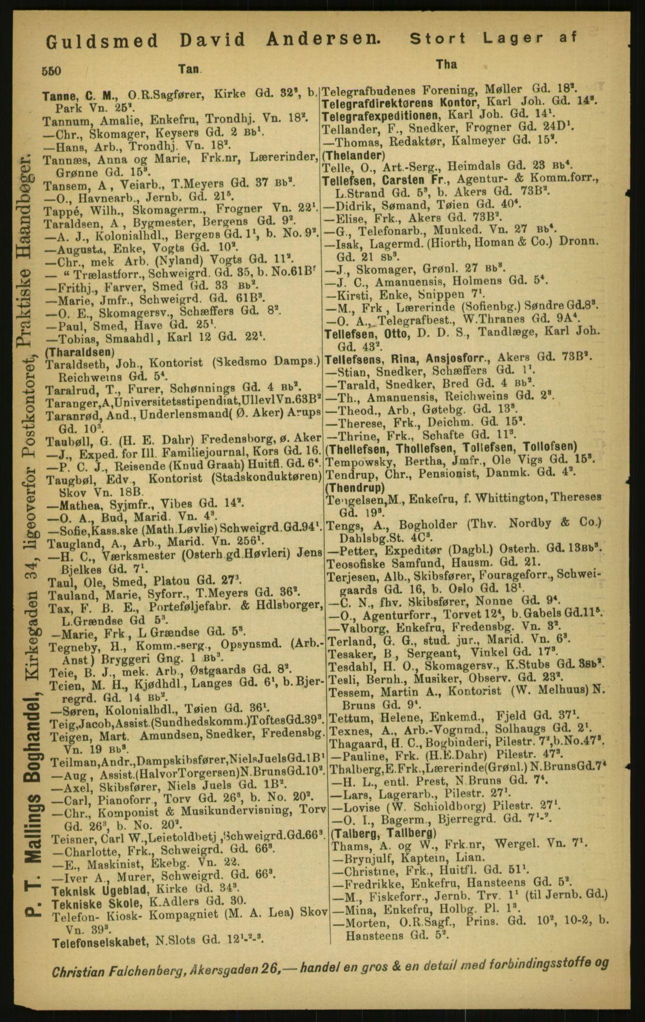 PUBL, Kristiania/Oslo adressebok, 1897, s. 550