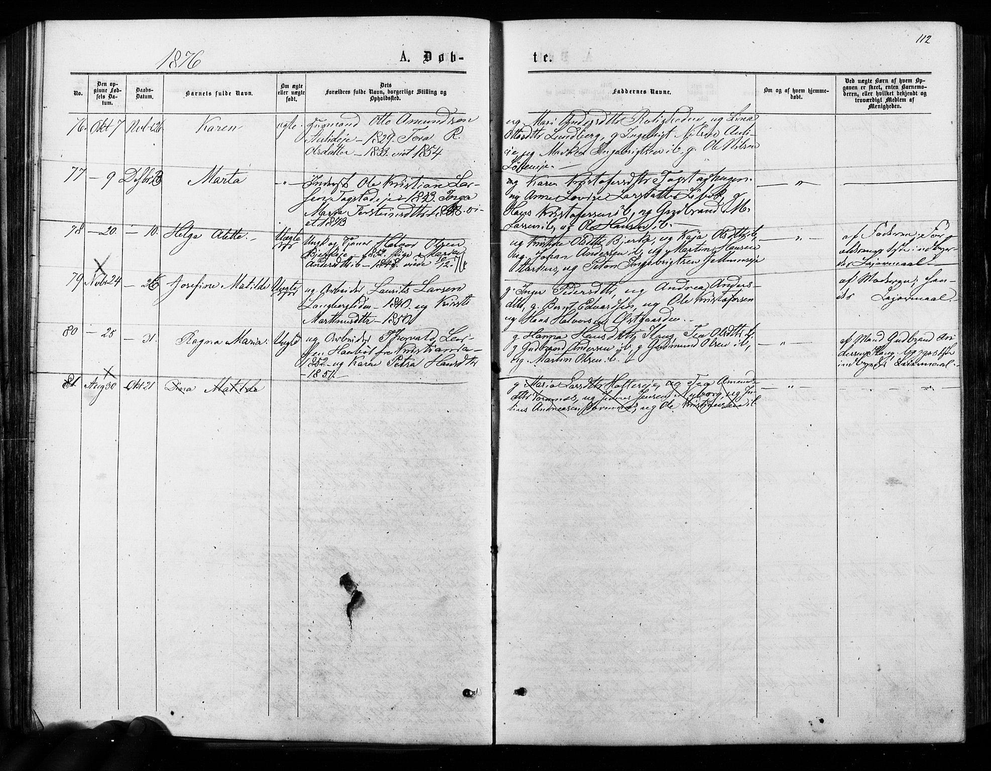 SAO, Nes prestekontor Kirkebøker, F/Fa/L0009: Ministerialbok nr. I 9, 1875-1882, s. 112