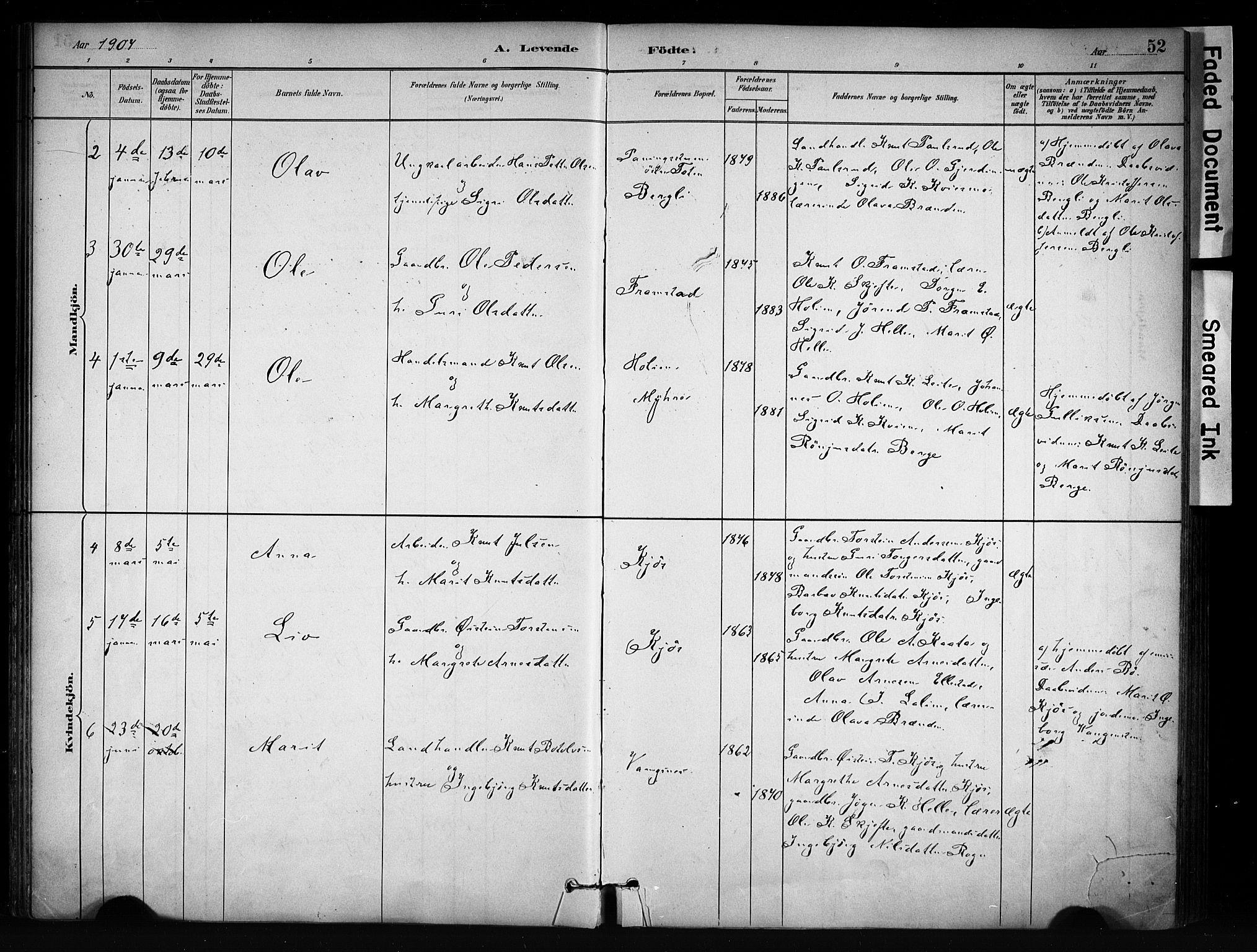 SAH, Vang prestekontor, Valdres, Ministerialbok nr. 9, 1882-1914, s. 52