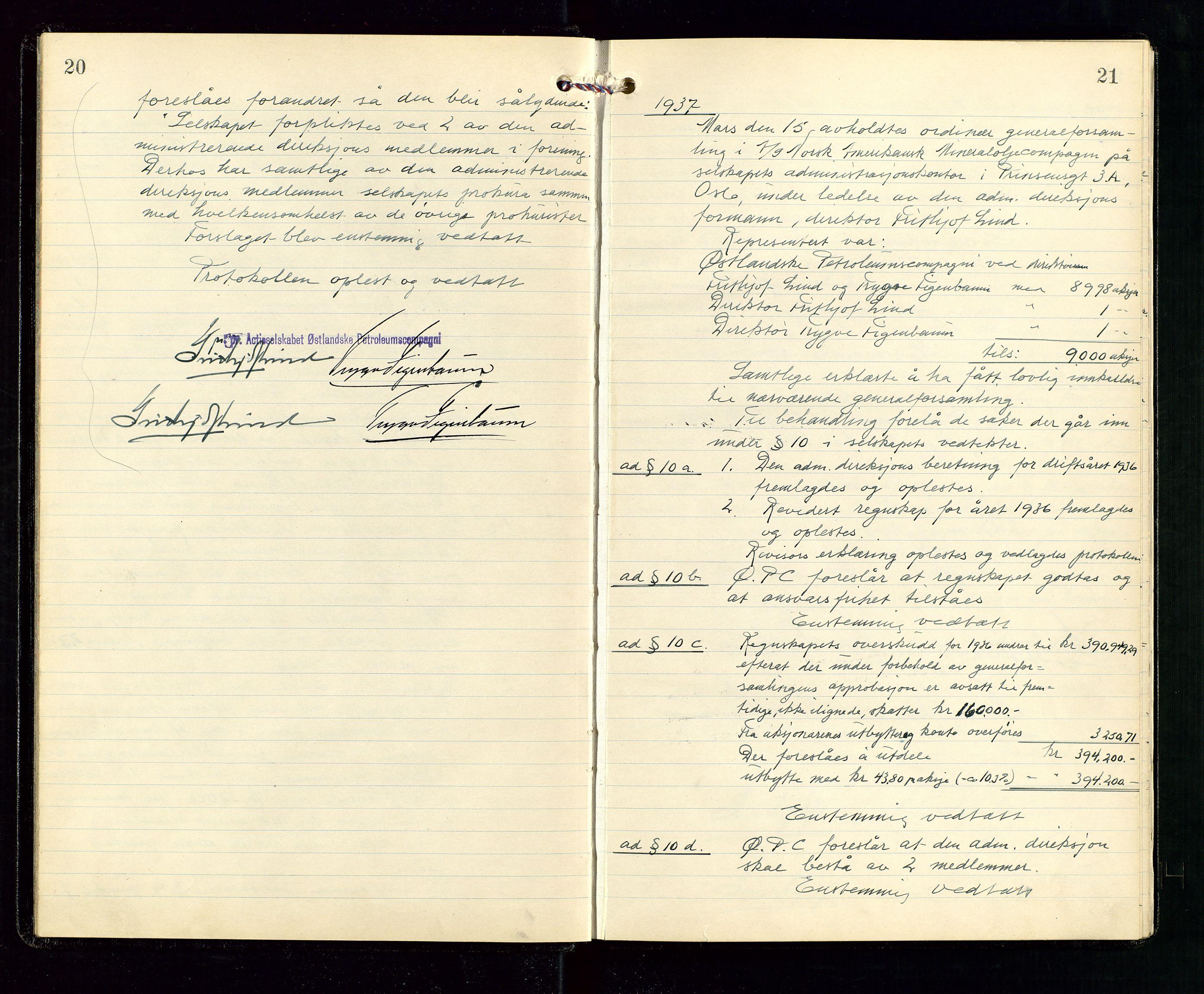 SAST, Pa 1536 - Esso Norge as, Vallø Oljeraffineri og lager, A/Aa/L0001: Generalforsamlinger og bilag til generalforsamlinger, 1934-1950, s. 20-21