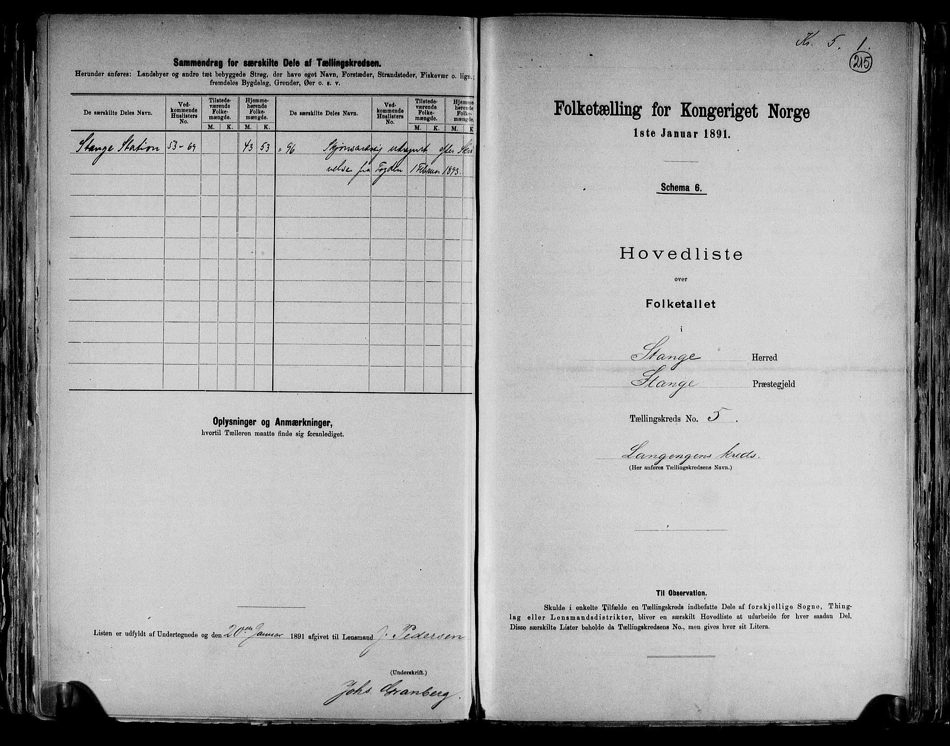 RA, Folketelling 1891 for 0417 Stange herred, 1891, s. 16