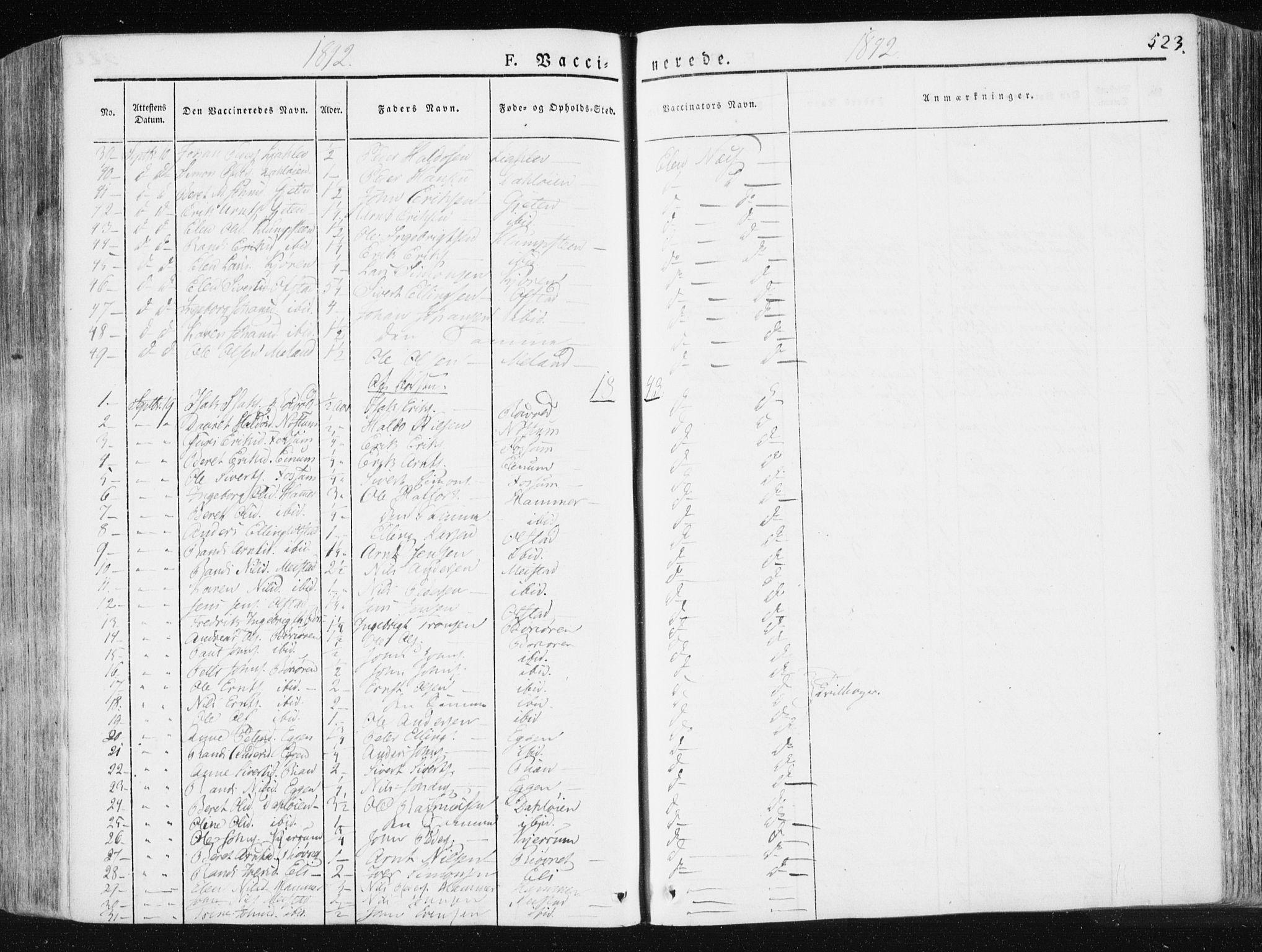 SAT, Ministerialprotokoller, klokkerbøker og fødselsregistre - Sør-Trøndelag, 665/L0771: Ministerialbok nr. 665A06, 1830-1856, s. 523