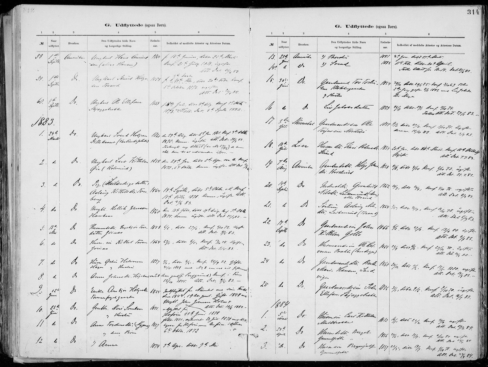 SAKO, Tinn kirkebøker, F/Fa/L0007: Ministerialbok nr. I 7, 1878-1922, s. 314