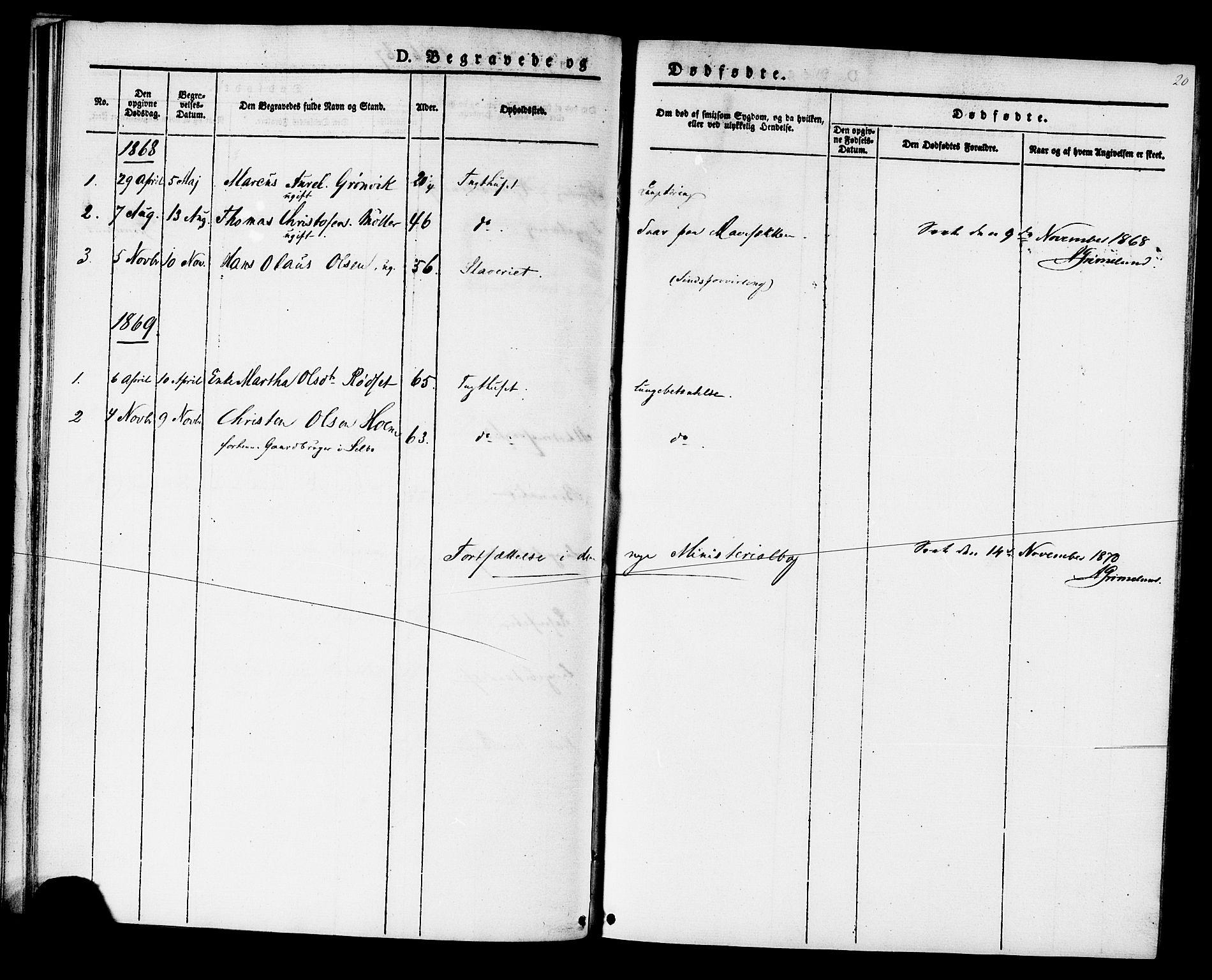 SAT, Ministerialprotokoller, klokkerbøker og fødselsregistre - Sør-Trøndelag, 624/L0481: Ministerialbok nr. 624A02, 1841-1869, s. 20