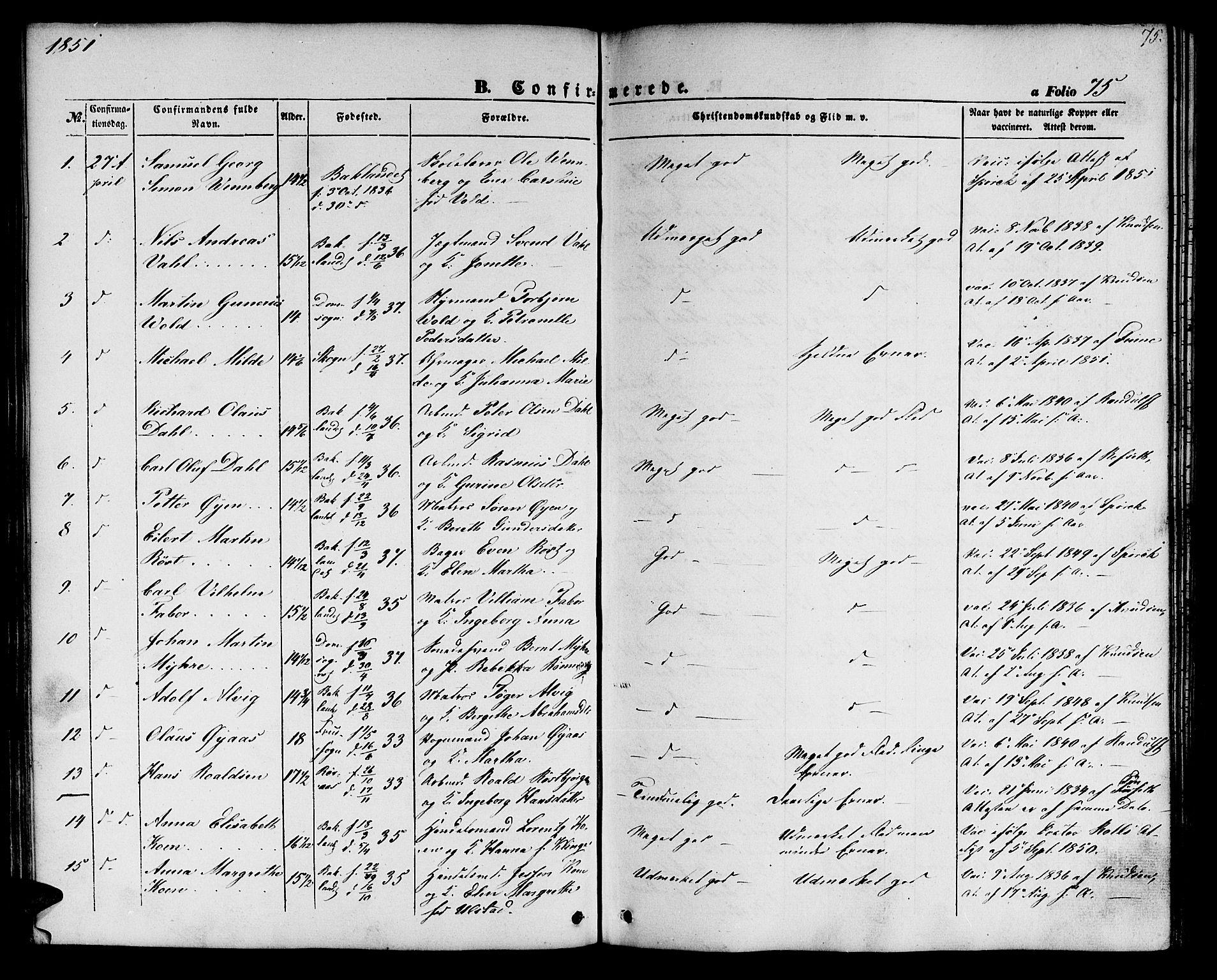 SAT, Ministerialprotokoller, klokkerbøker og fødselsregistre - Sør-Trøndelag, 604/L0184: Ministerialbok nr. 604A05, 1851-1860, s. 75