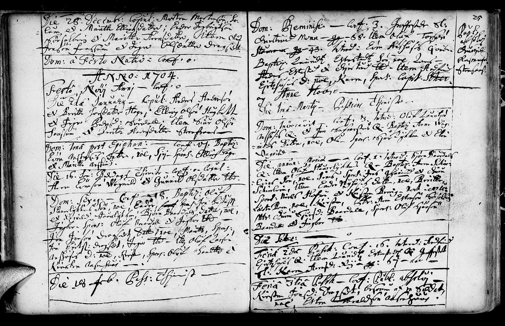 SAT, Ministerialprotokoller, klokkerbøker og fødselsregistre - Sør-Trøndelag, 689/L1036: Ministerialbok nr. 689A01, 1696-1746, s. 25