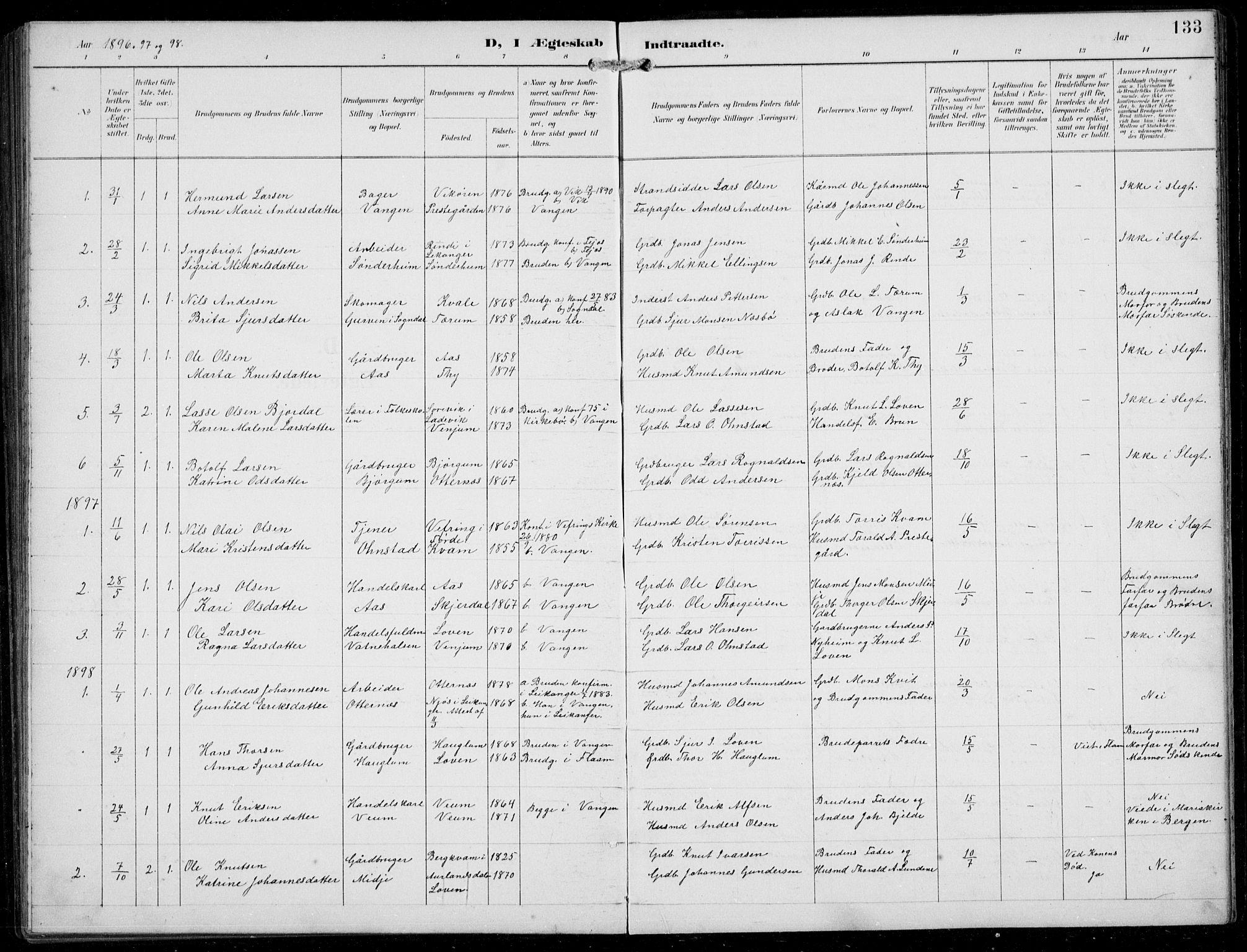 SAB, Aurland sokneprestembete, H/Hb/Hba/L0003: Klokkerbok nr. A 3, 1896-1939, s. 133