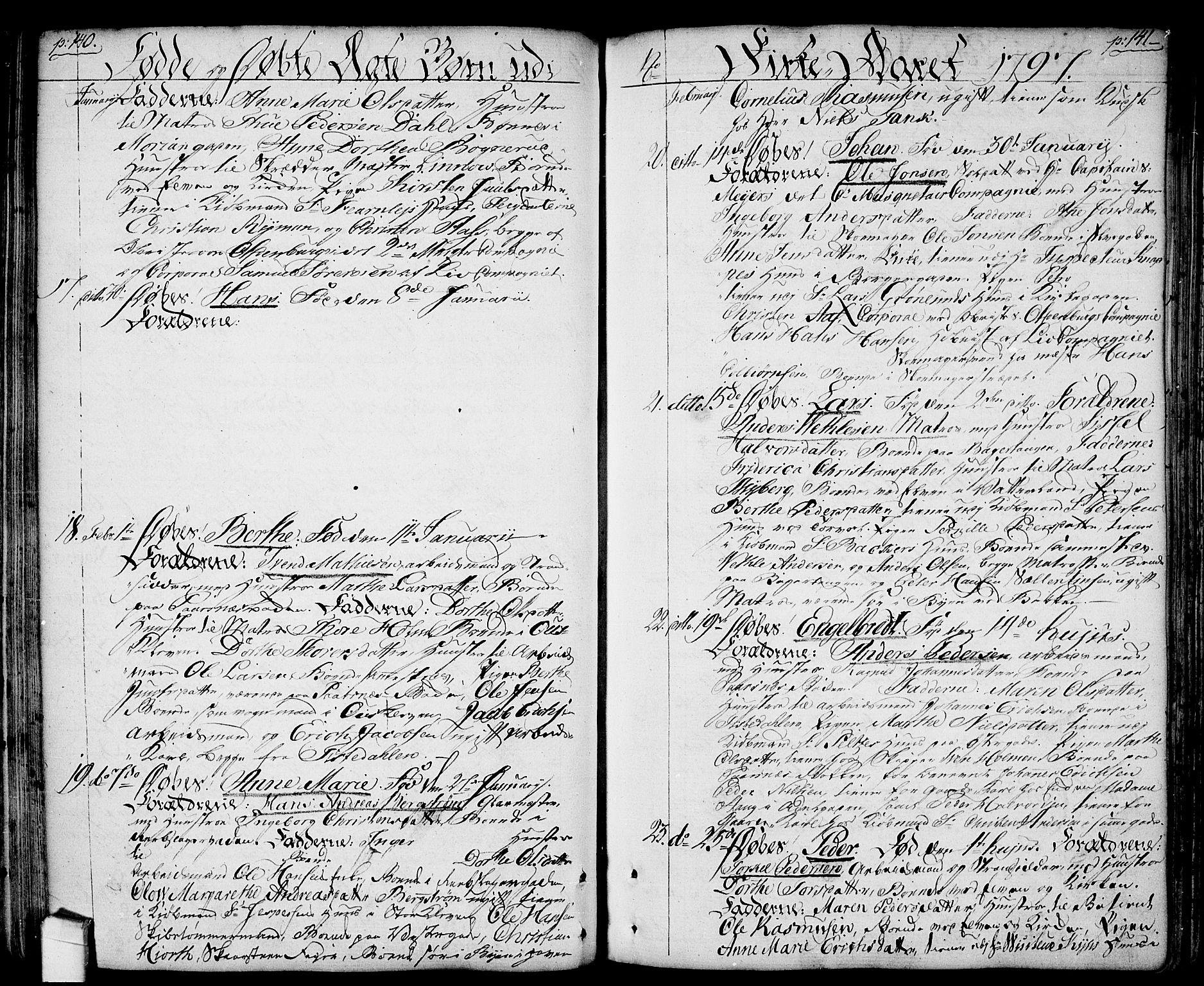 SAO, Halden prestekontor Kirkebøker, F/Fa/L0002: Ministerialbok nr. I 2, 1792-1812, s. 140-141