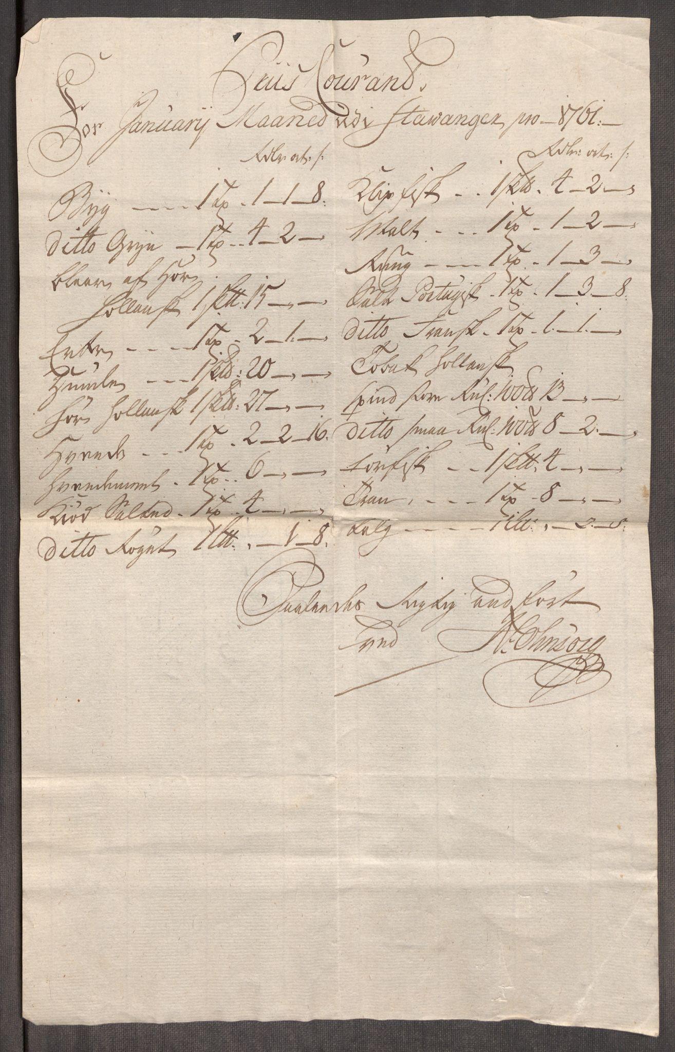 RA, Rentekammeret inntil 1814, Realistisk ordnet avdeling, Oe/L0009: [Ø1]: Nordafjelske priskuranter, 1759-1768, s. 74