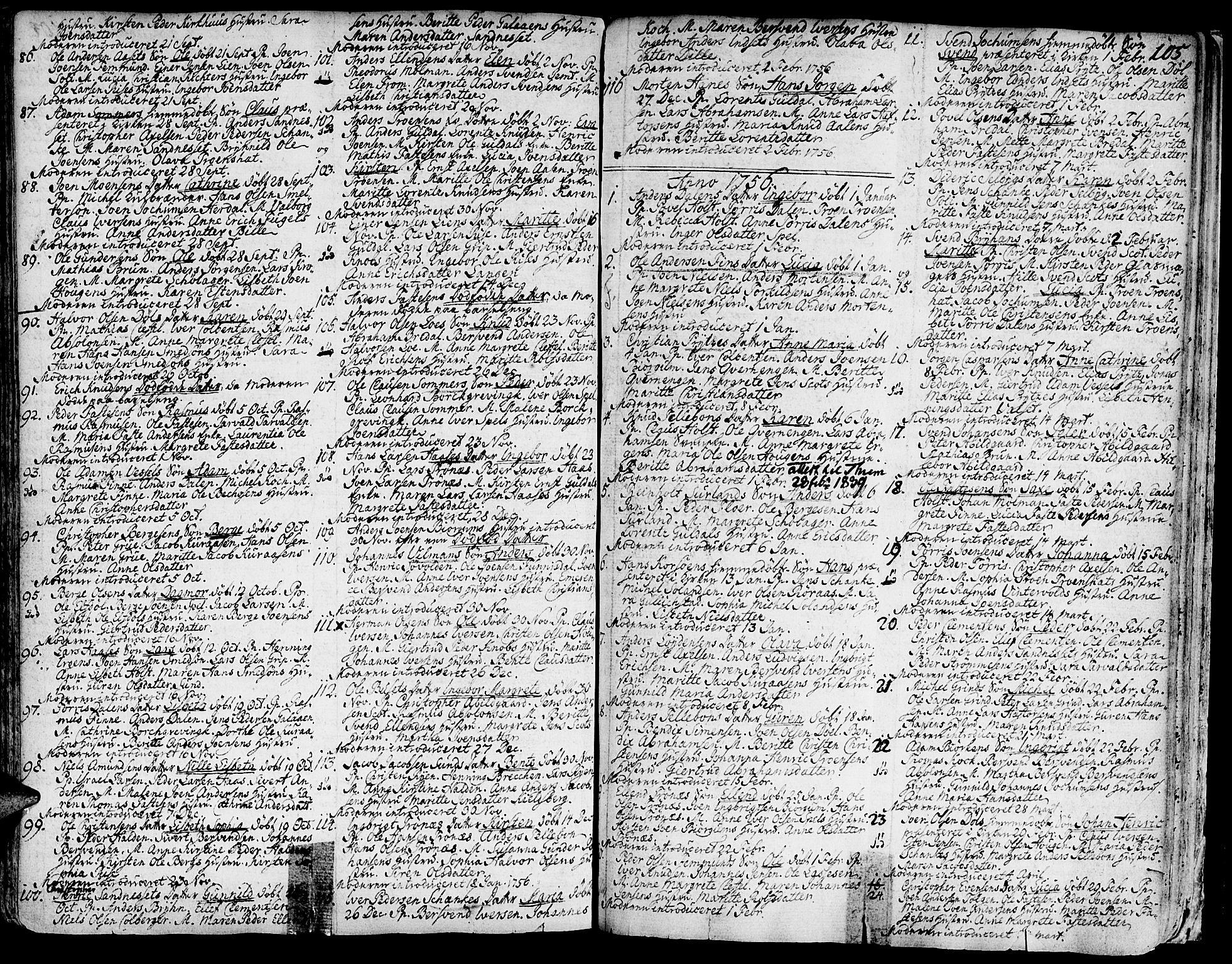 SAT, Ministerialprotokoller, klokkerbøker og fødselsregistre - Sør-Trøndelag, 681/L0925: Ministerialbok nr. 681A03, 1727-1766, s. 105