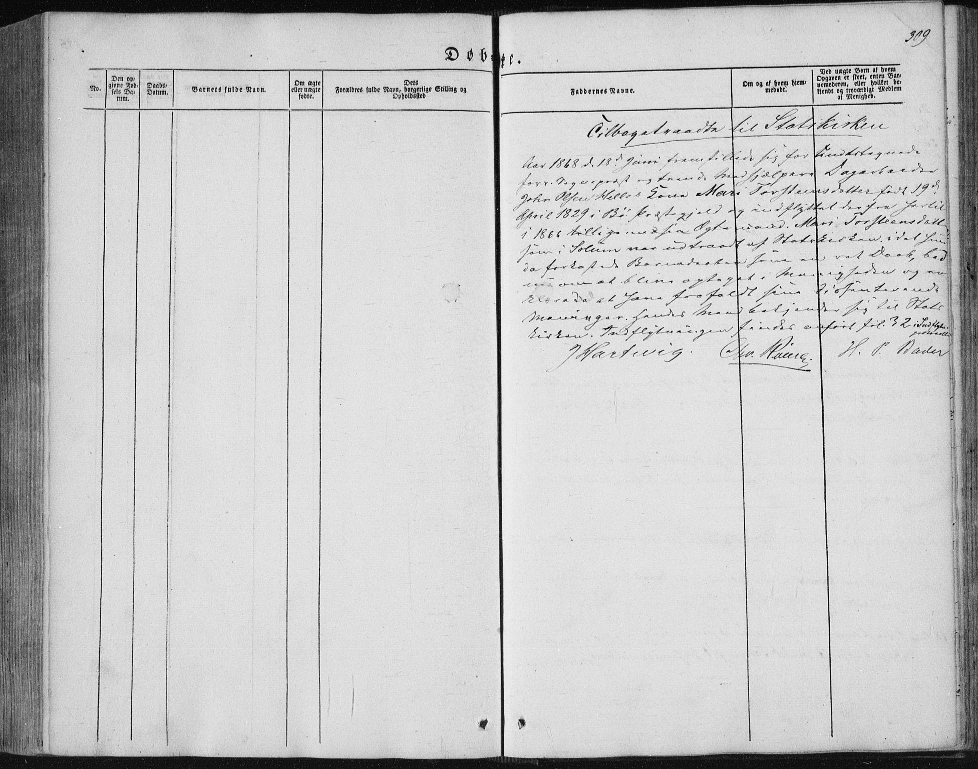 SAKO, Sannidal kirkebøker, F/Fa/L0008: Ministerialbok nr. 8, 1847-1862, s. 309