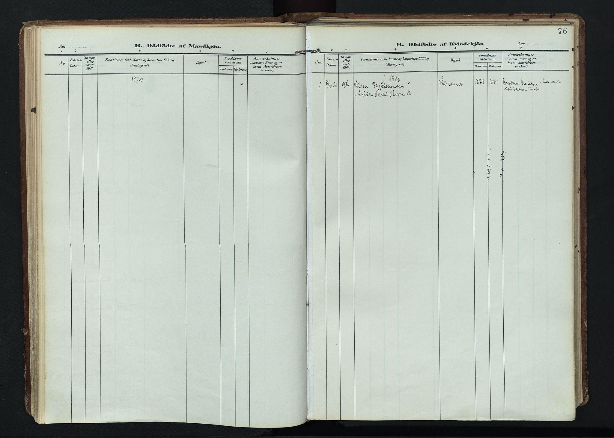 SAH, Vardal prestekontor, H/Ha/Haa/L0020: Ministerialbok nr. 20, 1907-1921, s. 76