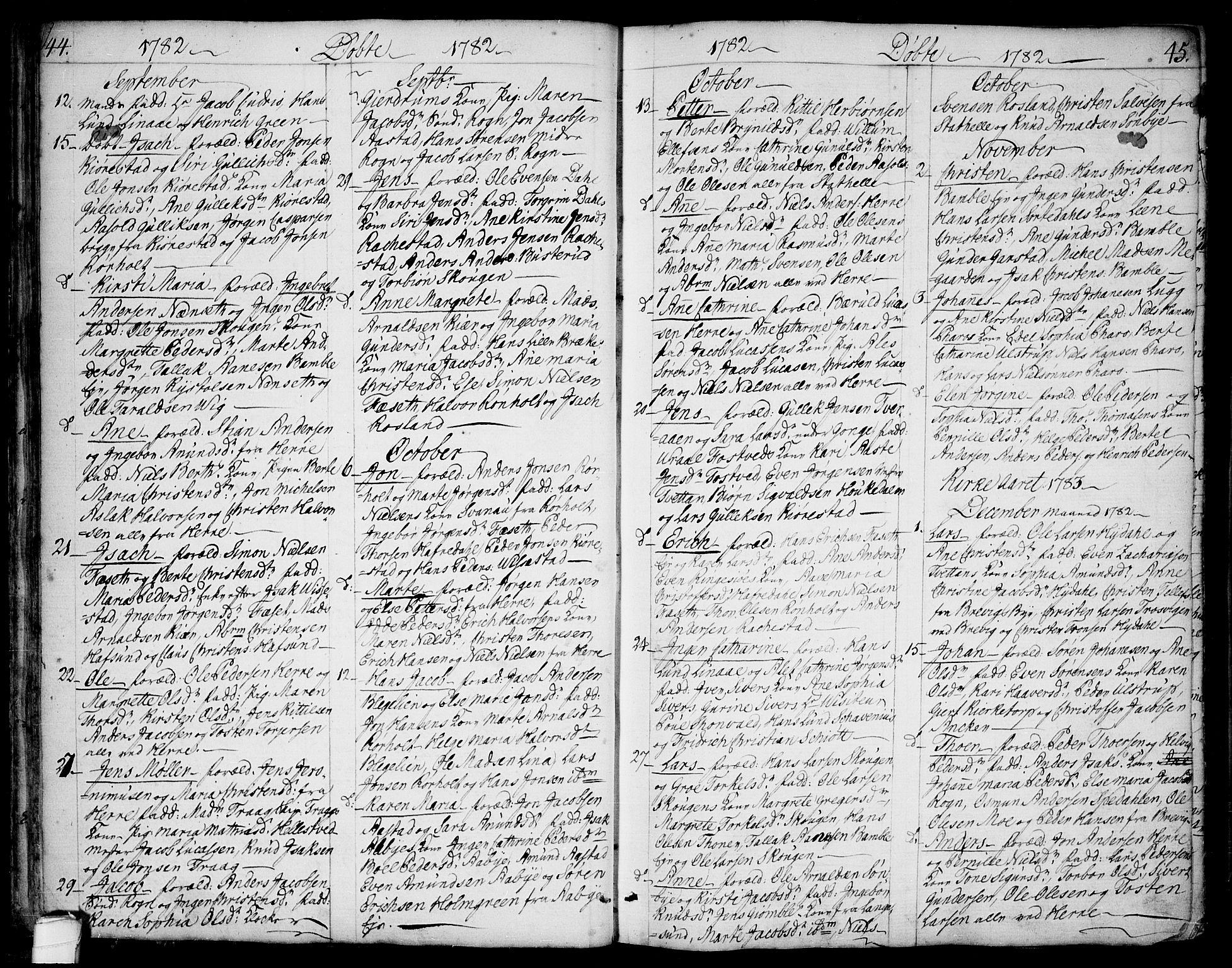 SAKO, Bamble kirkebøker, F/Fa/L0002: Ministerialbok nr. I 2, 1775-1814, s. 44-45