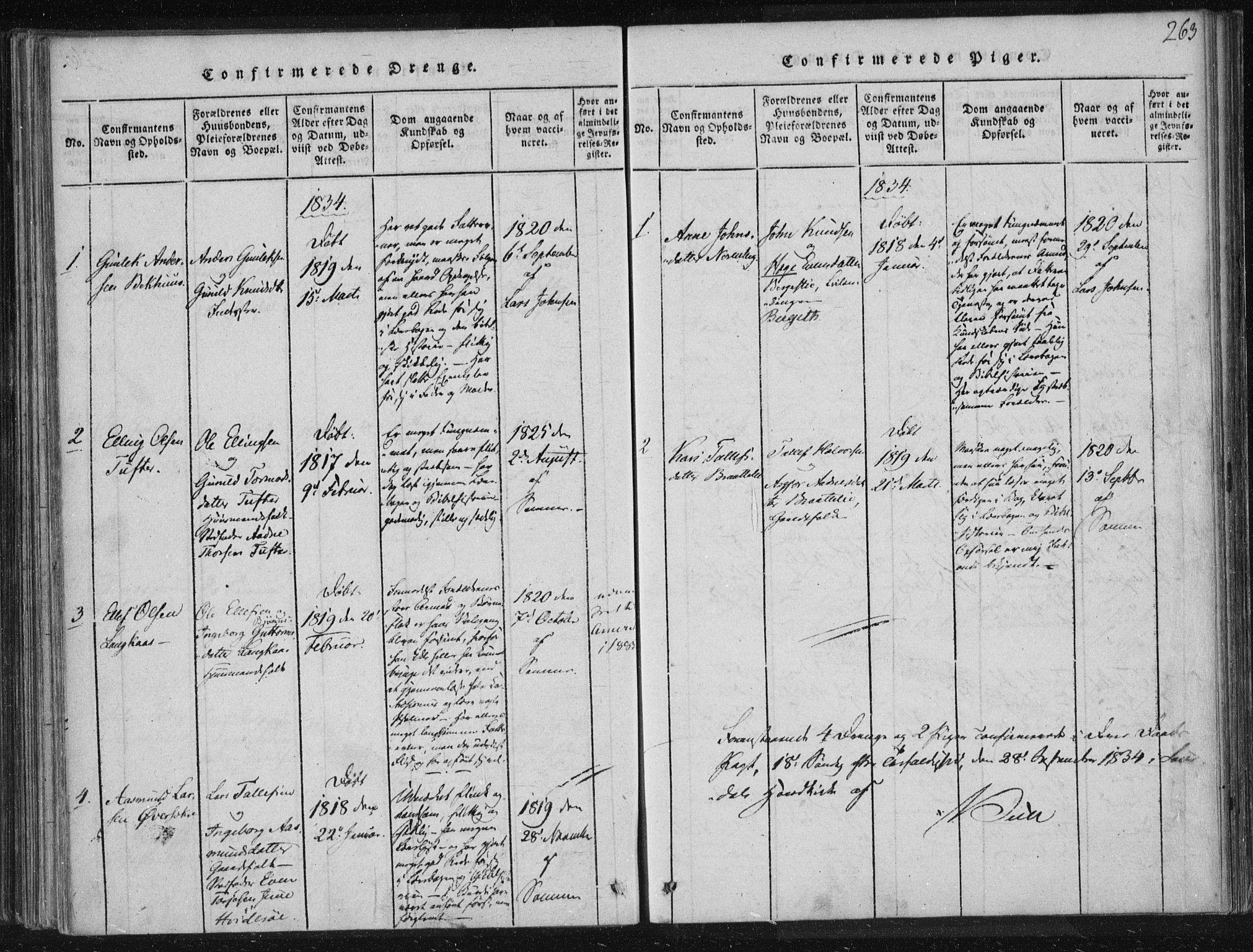SAKO, Lårdal kirkebøker, F/Fc/L0001: Ministerialbok nr. III 1, 1815-1860, s. 263