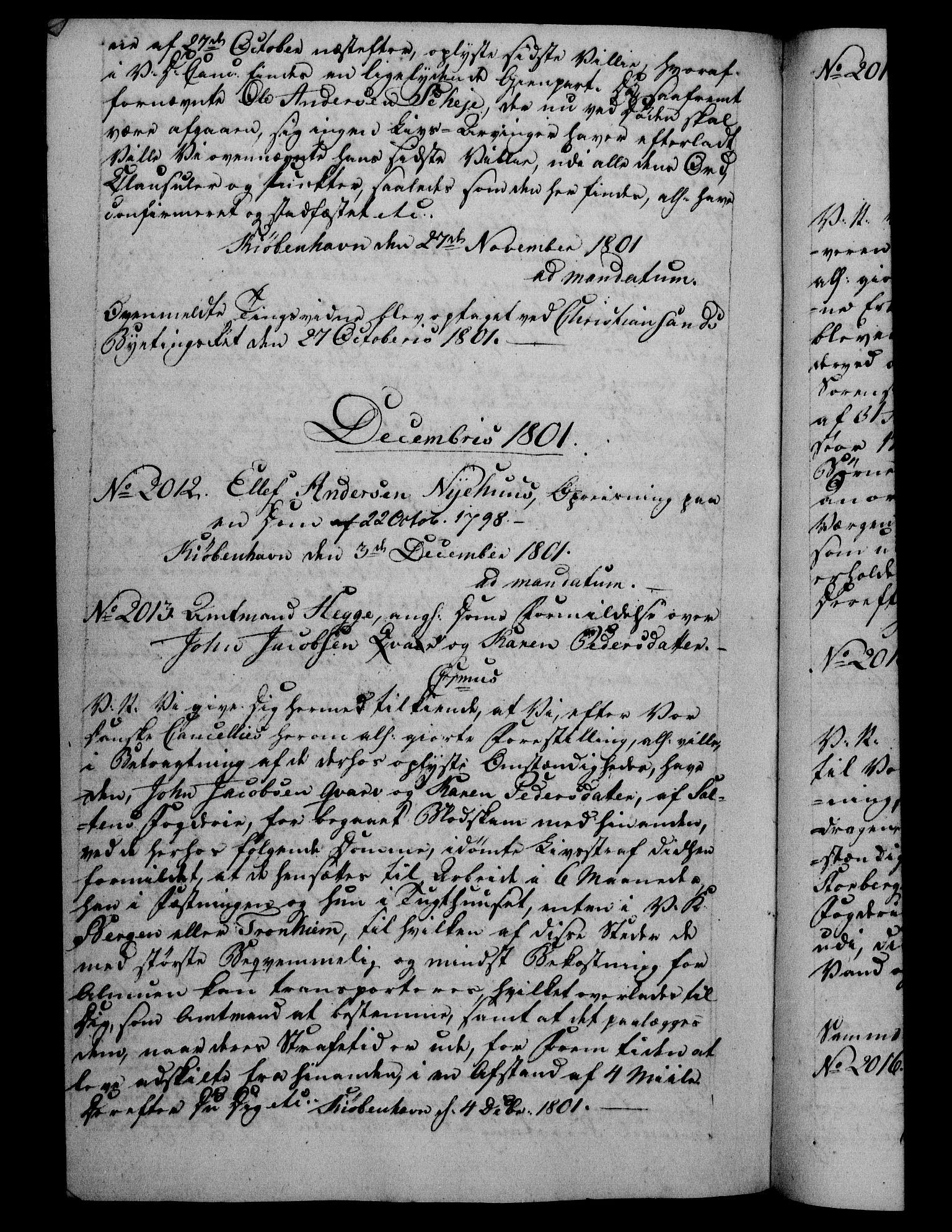 RA, Danske Kanselli 1800-1814, H/Hf/Hfb/Hfba/L0001: Registranter, 1800-1801, s. 452b