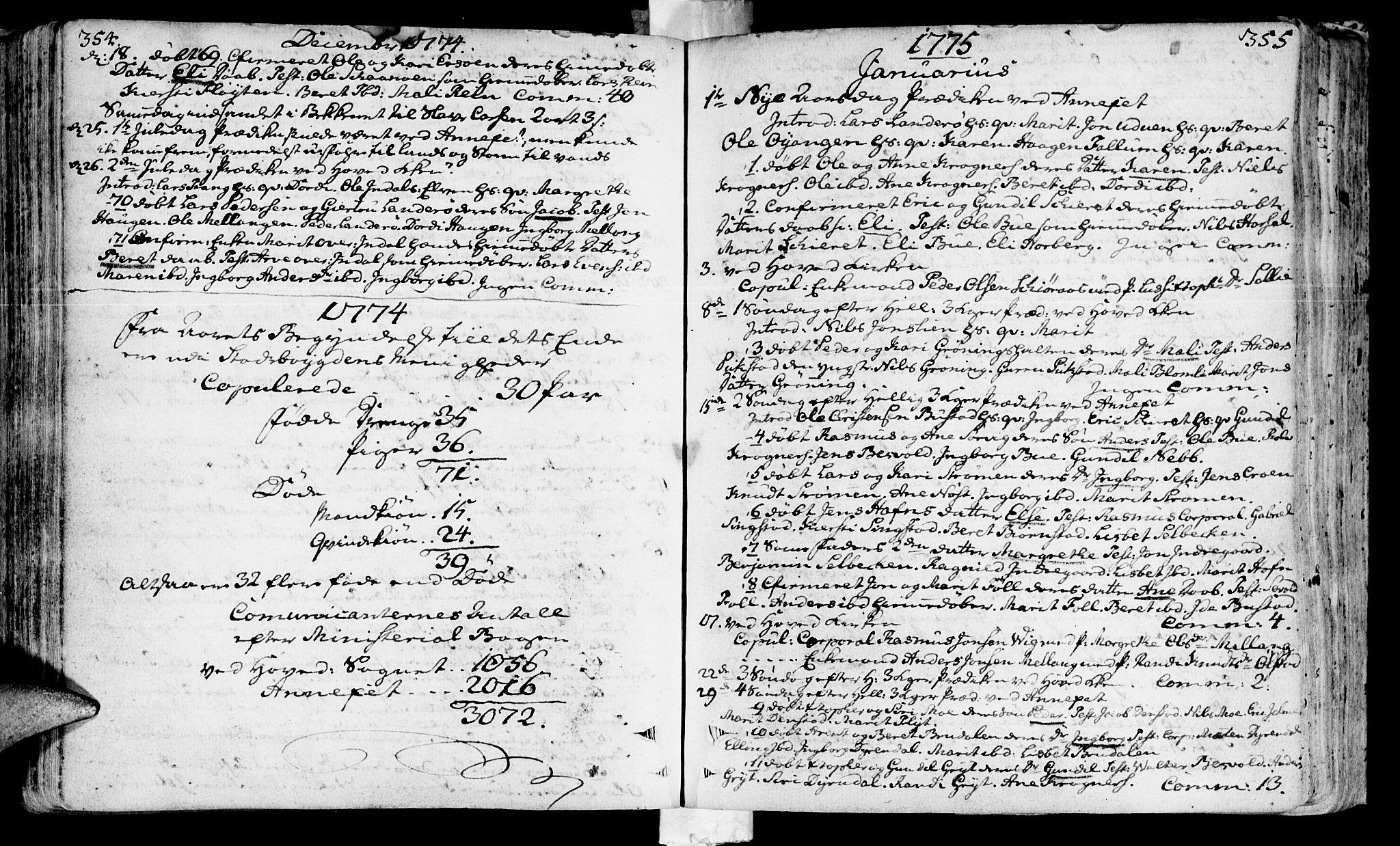 SAT, Ministerialprotokoller, klokkerbøker og fødselsregistre - Sør-Trøndelag, 646/L0605: Ministerialbok nr. 646A03, 1751-1790, s. 354-355