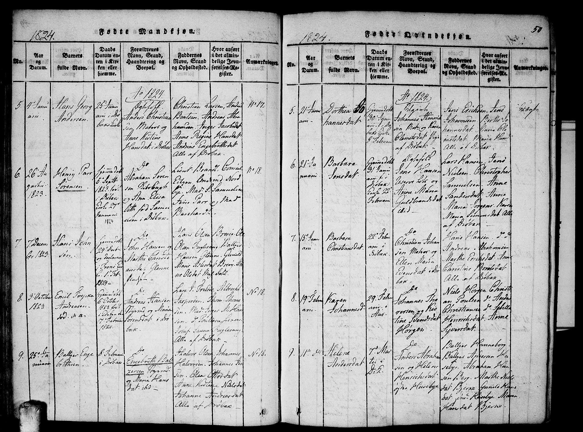 SAO, Drøbak prestekontor Kirkebøker, F/Fa/L0001: Ministerialbok nr. I 1, 1816-1842, s. 50
