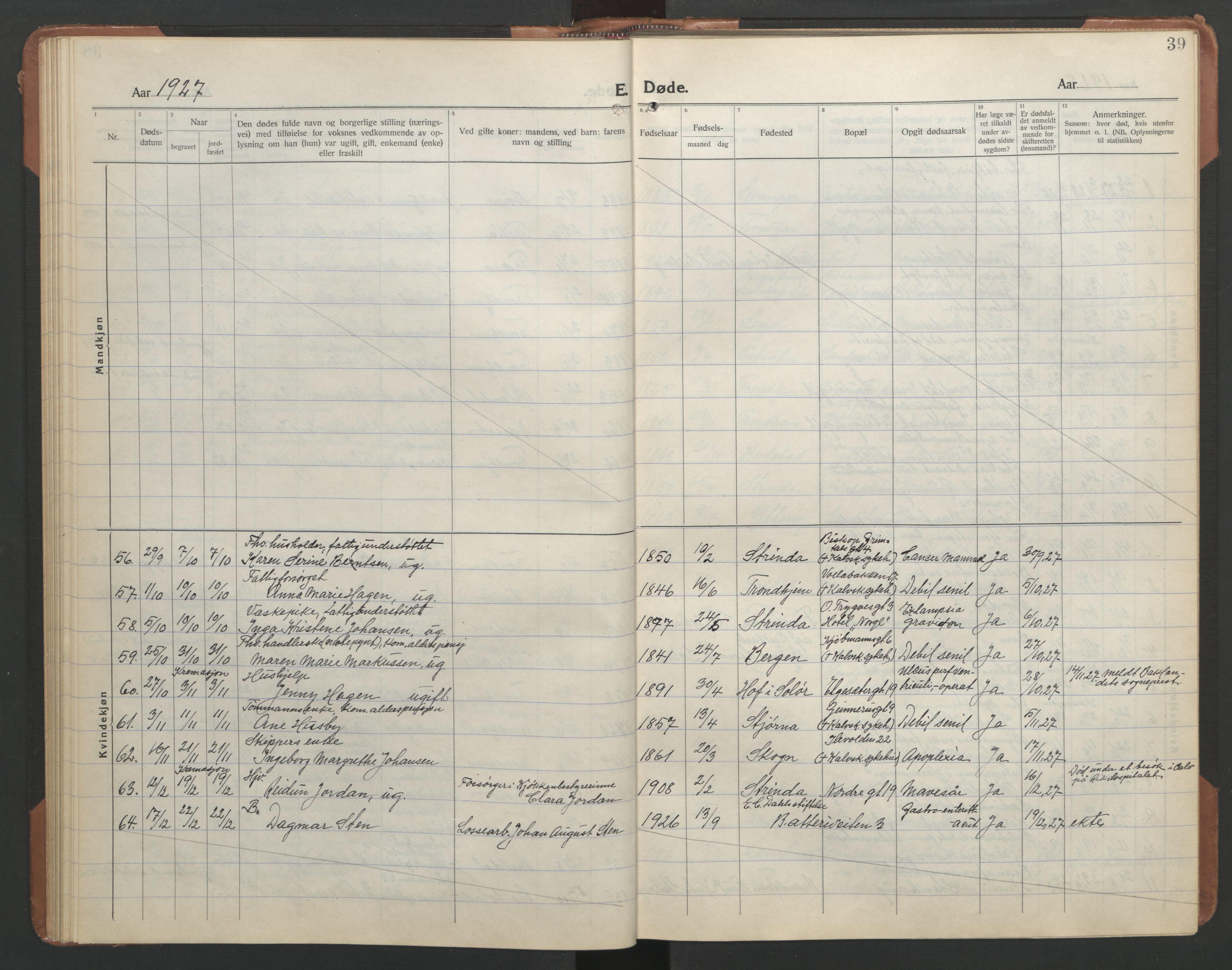 SAT, Ministerialprotokoller, klokkerbøker og fødselsregistre - Sør-Trøndelag, 602/L0150: Klokkerbok nr. 602C18, 1922-1949, s. 39