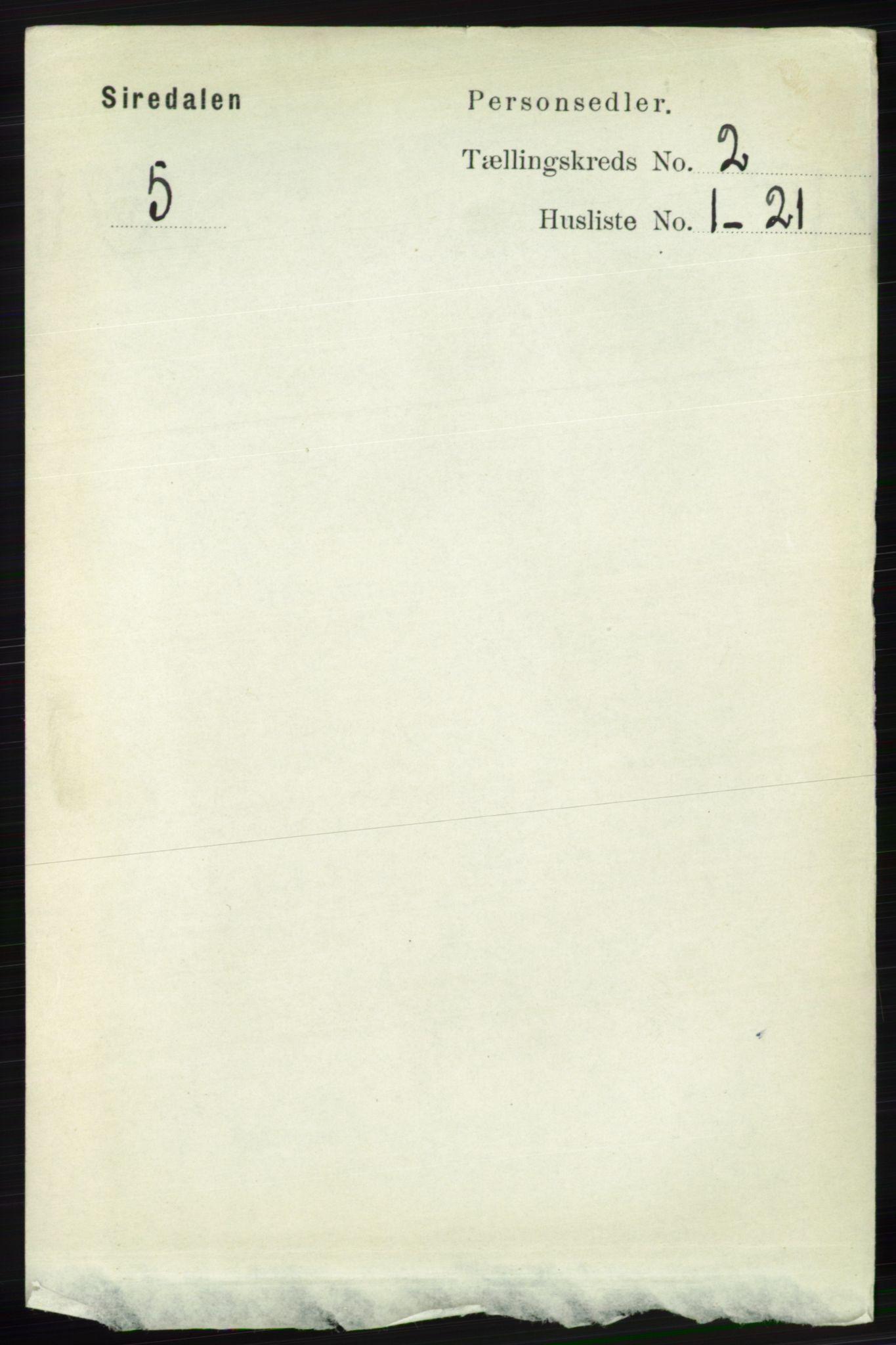 RA, Folketelling 1891 for 1046 Sirdal herred, 1891, s. 336
